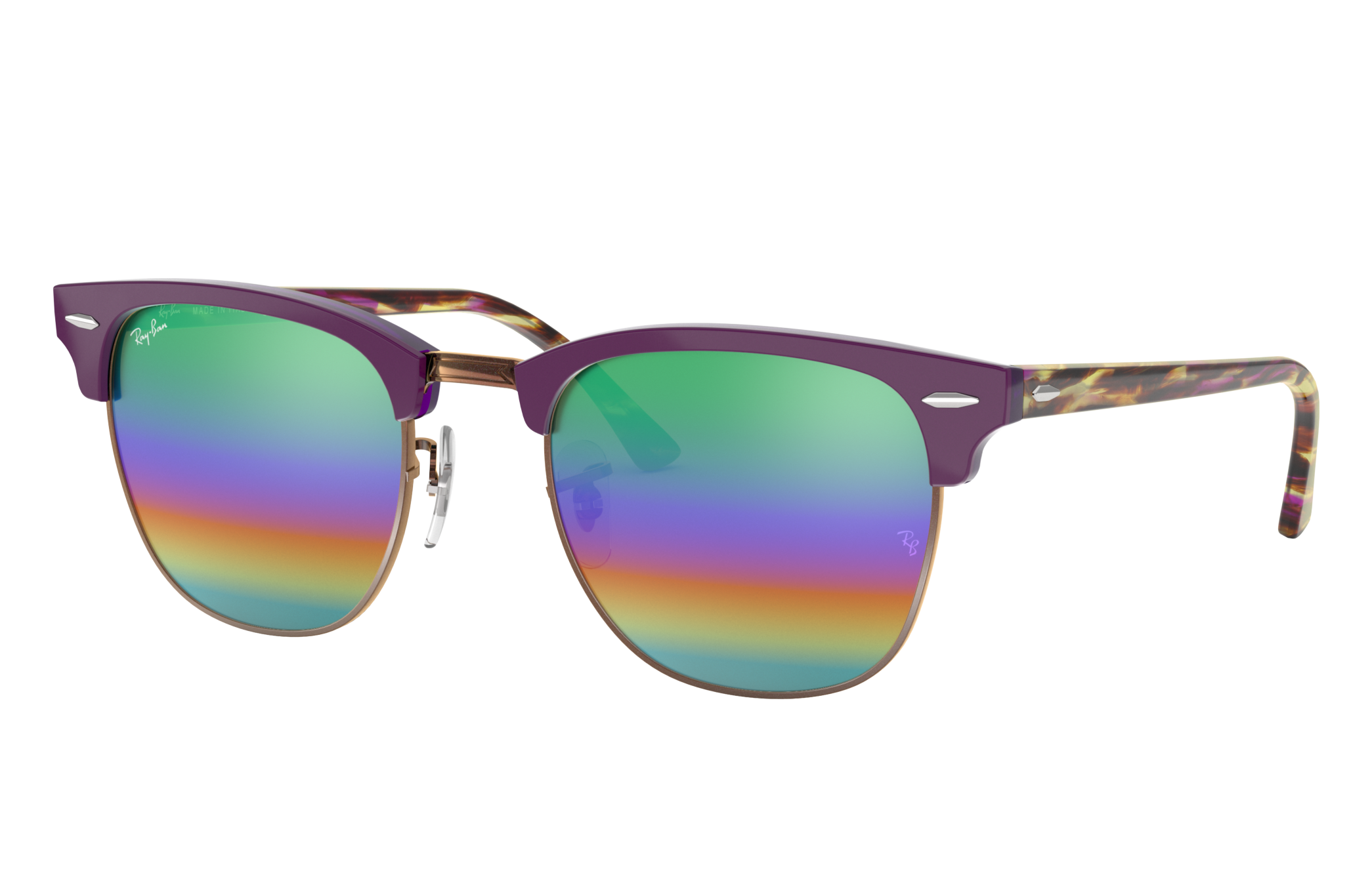 Ray-Ban Clubmaster Mineral Flash Lenses Violet, Green Lenses - RB3016
