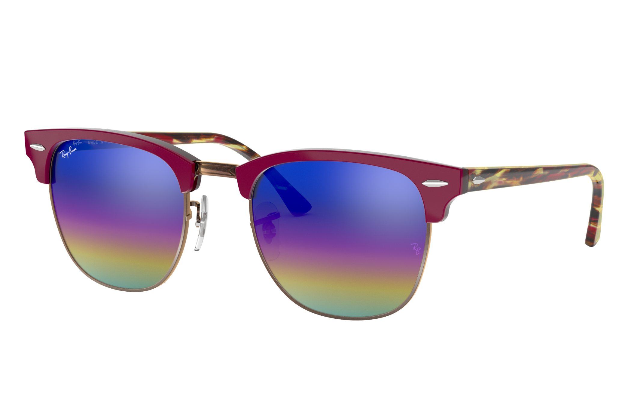 Ray-Ban Clubmaster Mineral Flash Lenses Red, Blue Lenses - RB3016