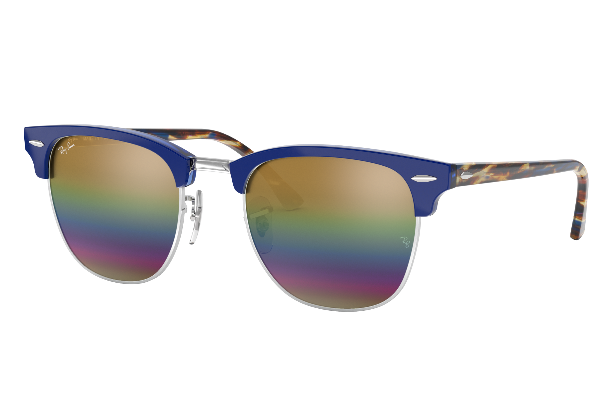 Ray-Ban Clubmaster Mineral Flash Lenses Blue, Yellow Lenses - RB3016