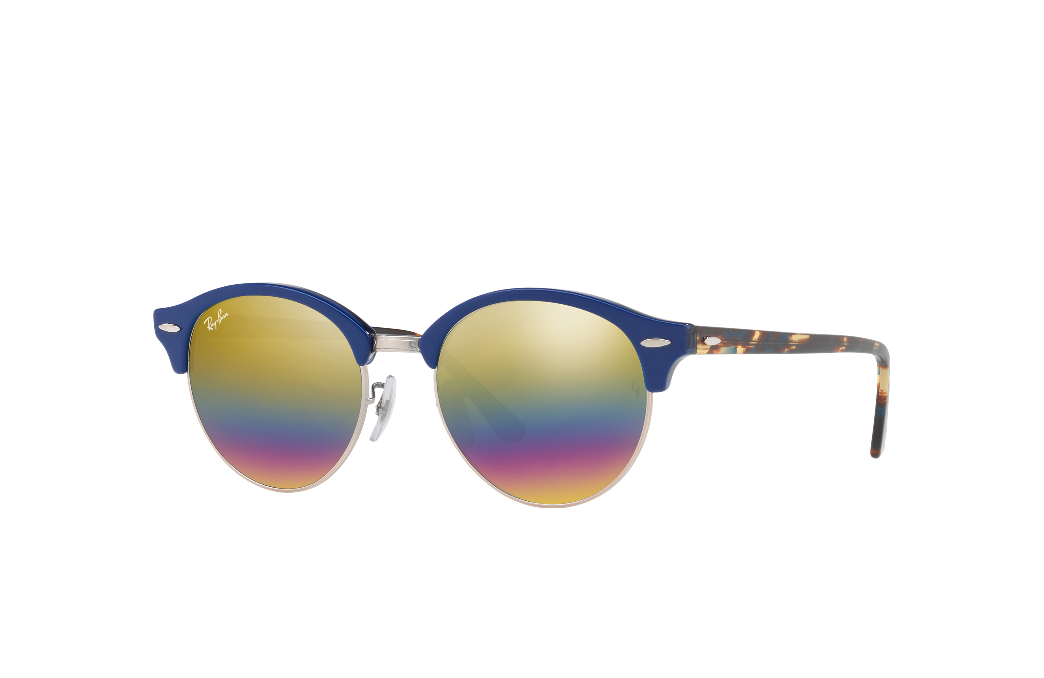 Ray-Ban Clubround Mineral Flash Lenses Blue, Yellow Lenses - RB4246