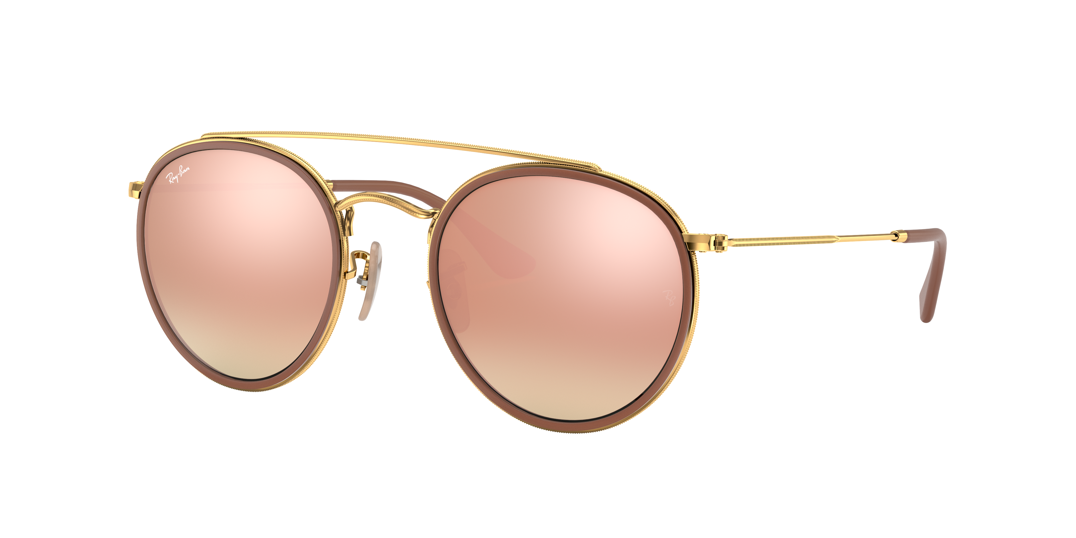 Ray-Ban Round Double Bridge Gold, Pink Lenses - RB3647N