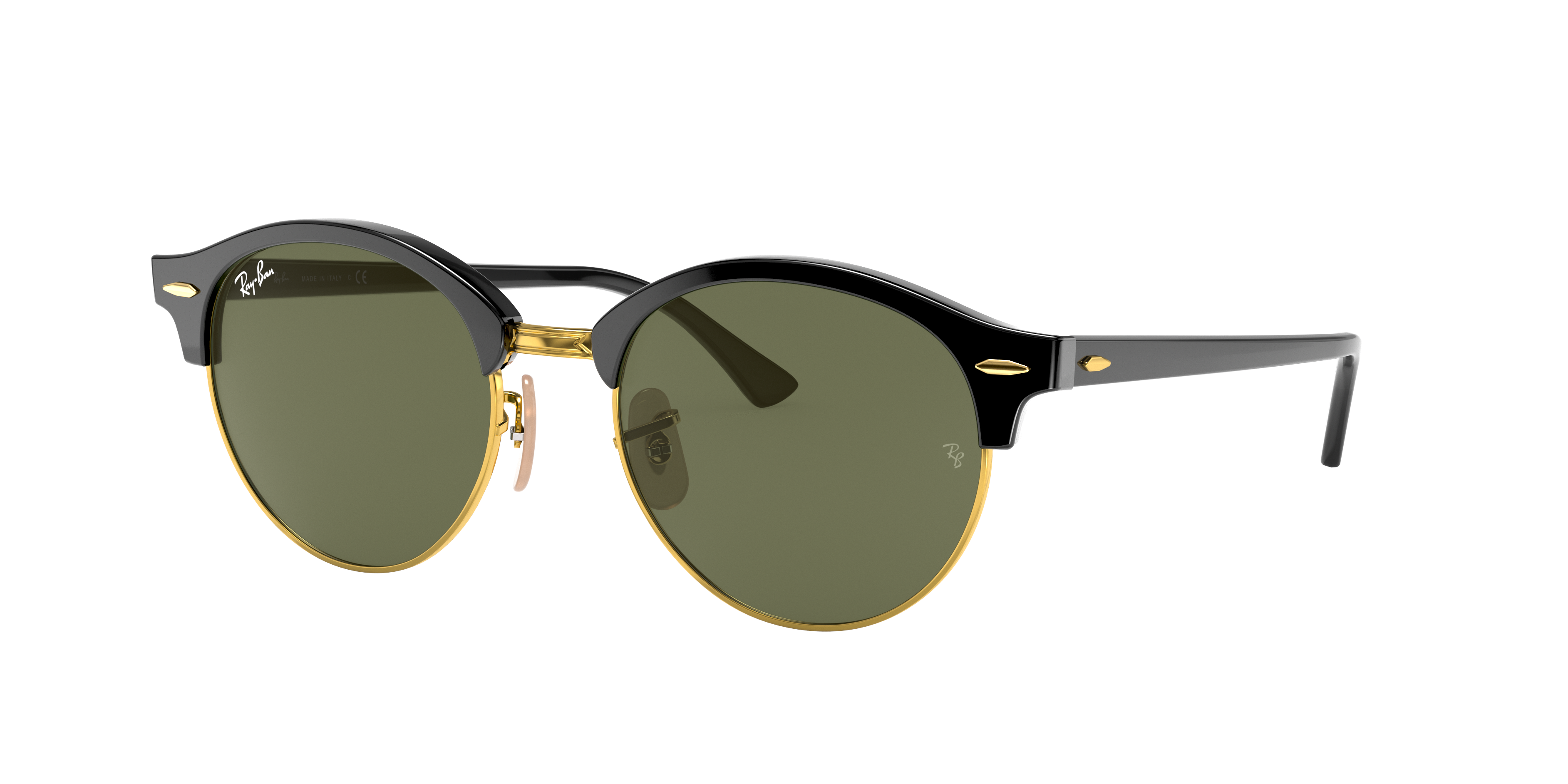 Ray-Ban Clubround Classic Low Bridge Fit Black, Green Lenses - RB4246F