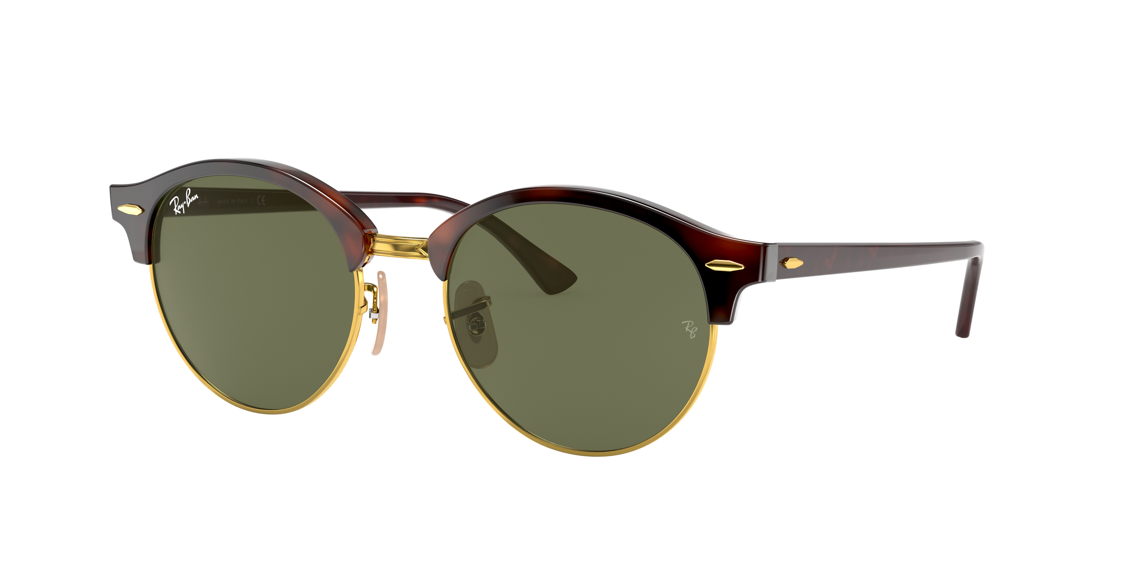Ray-Ban Clubround Classic Low Bridge Fit Tortoise, Green Lenses - RB4246F