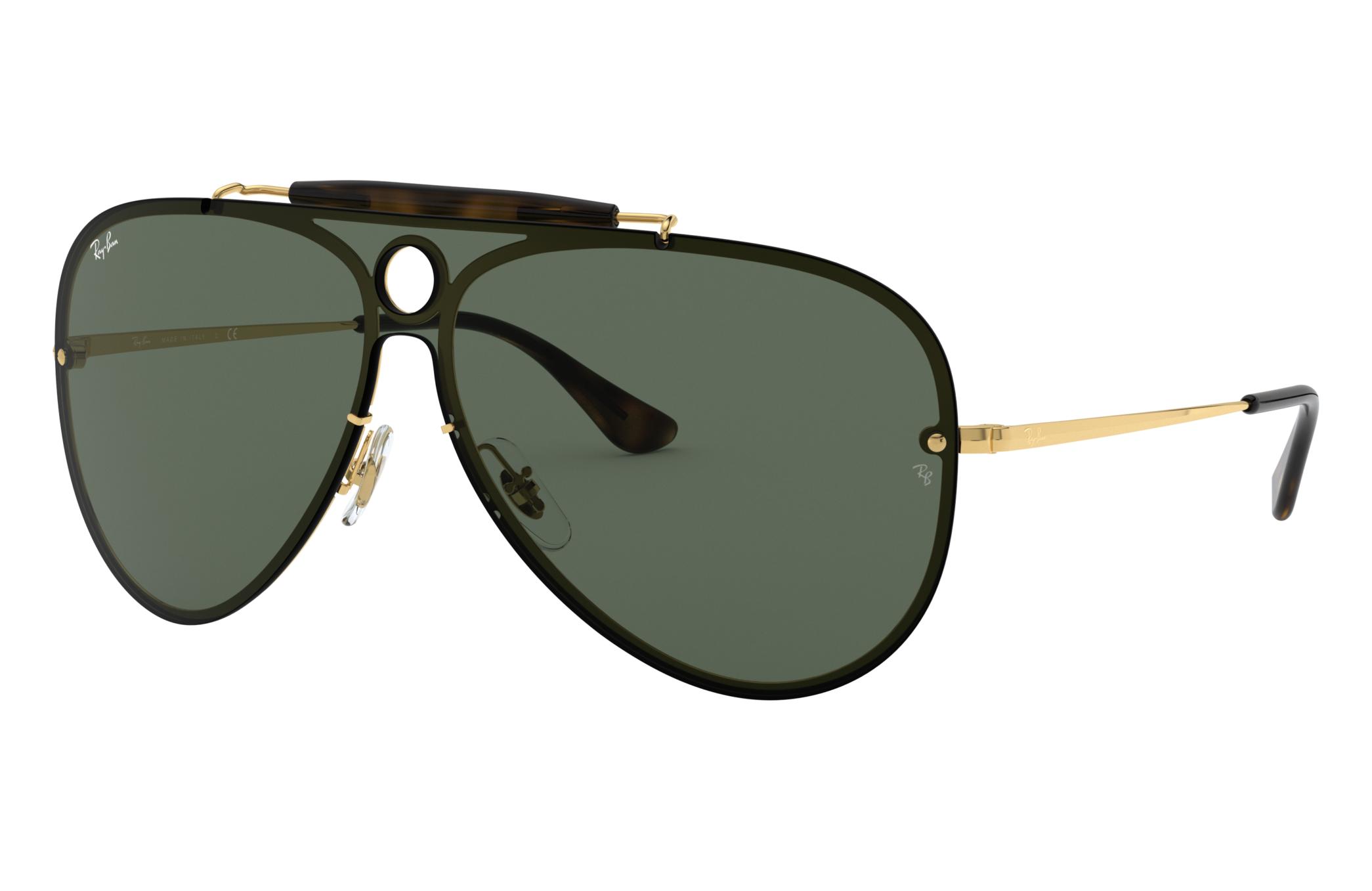 Ray-Ban Blaze Shooter Gold, Green Lenses - RB3581N
