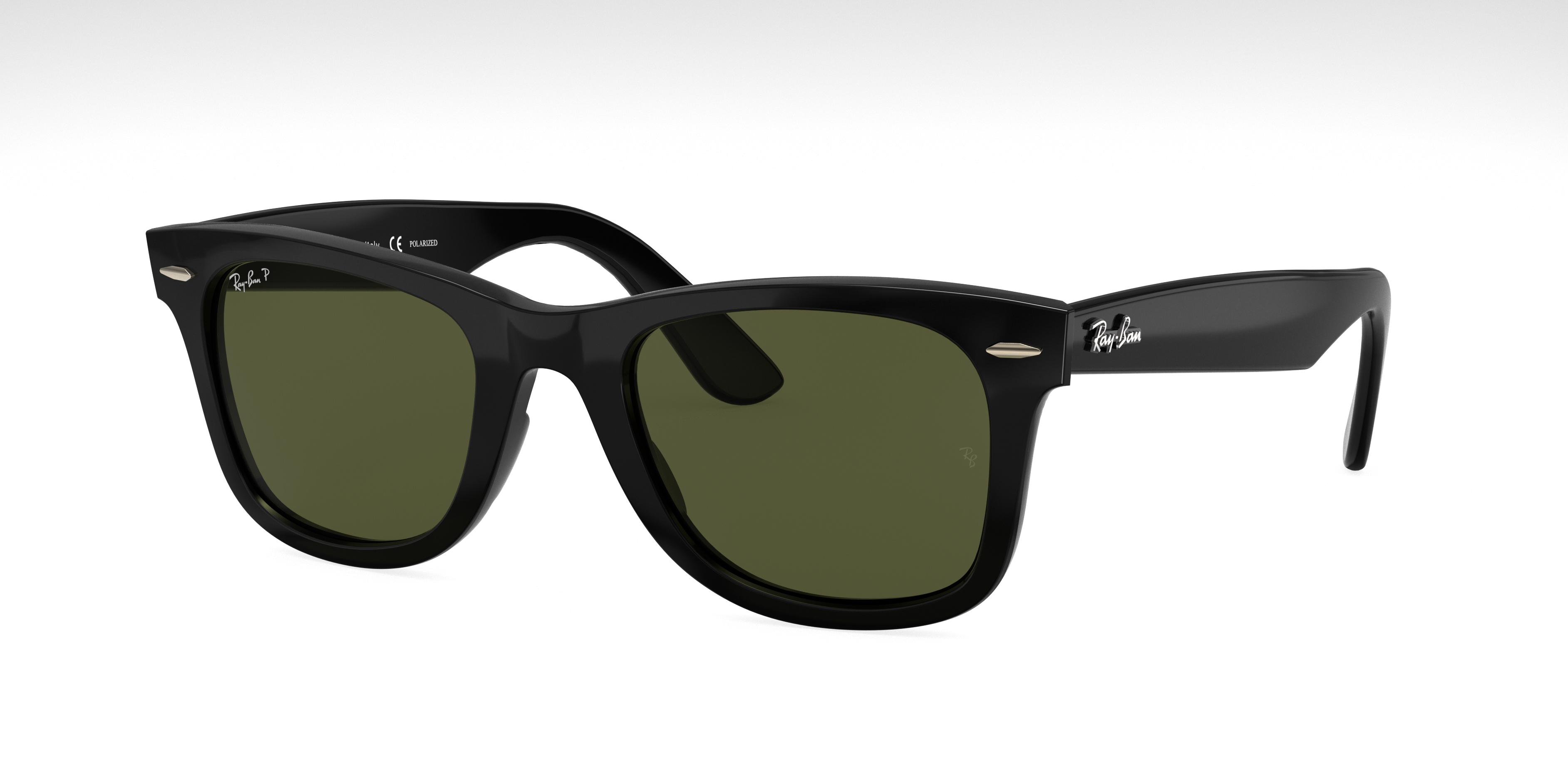 Ray-Ban Wayfarer Ease Black, Polarized Green Lenses - RB4340