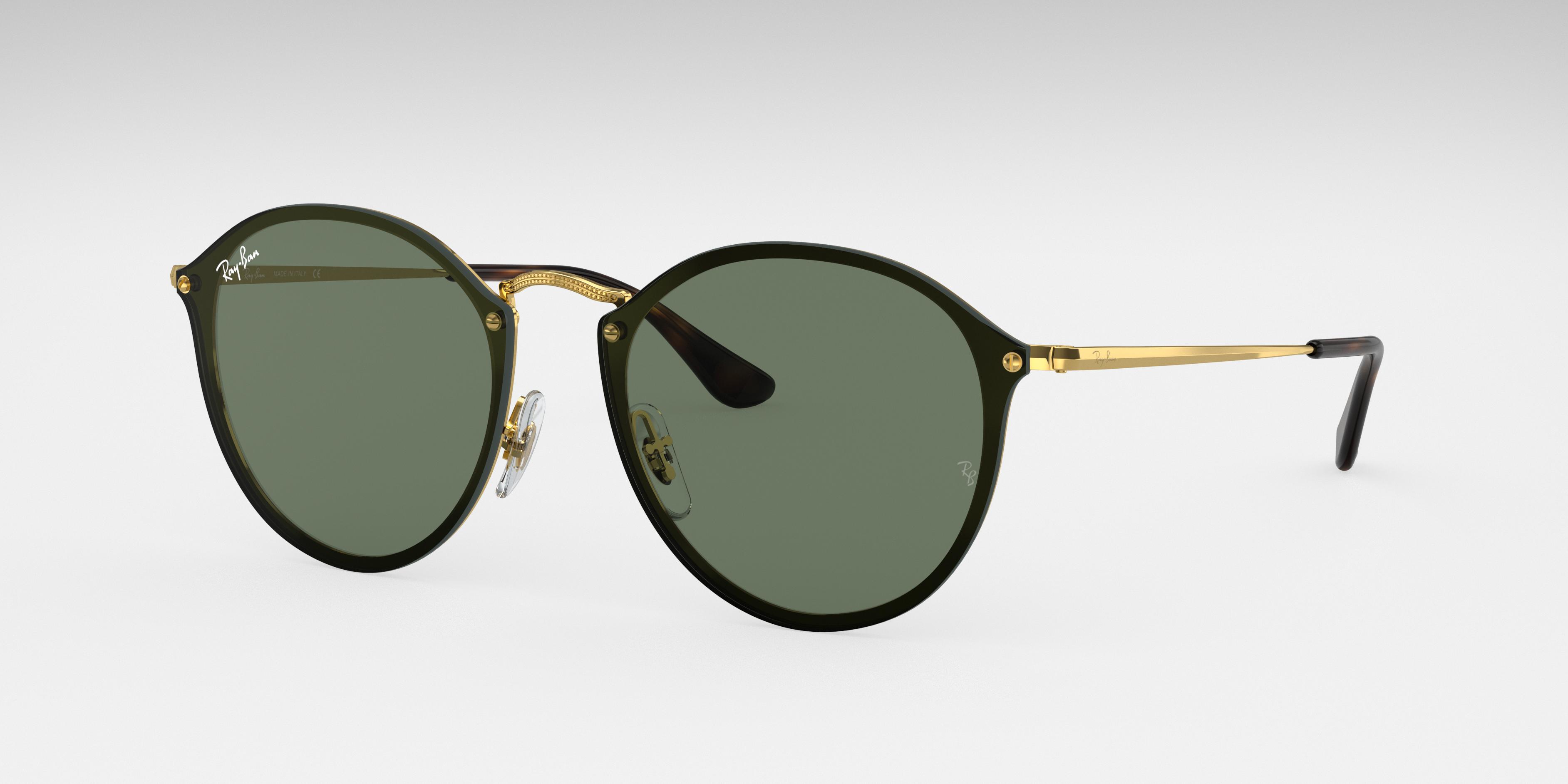 Ray-Ban Blaze Round Gold, Green Lenses - RB3574N