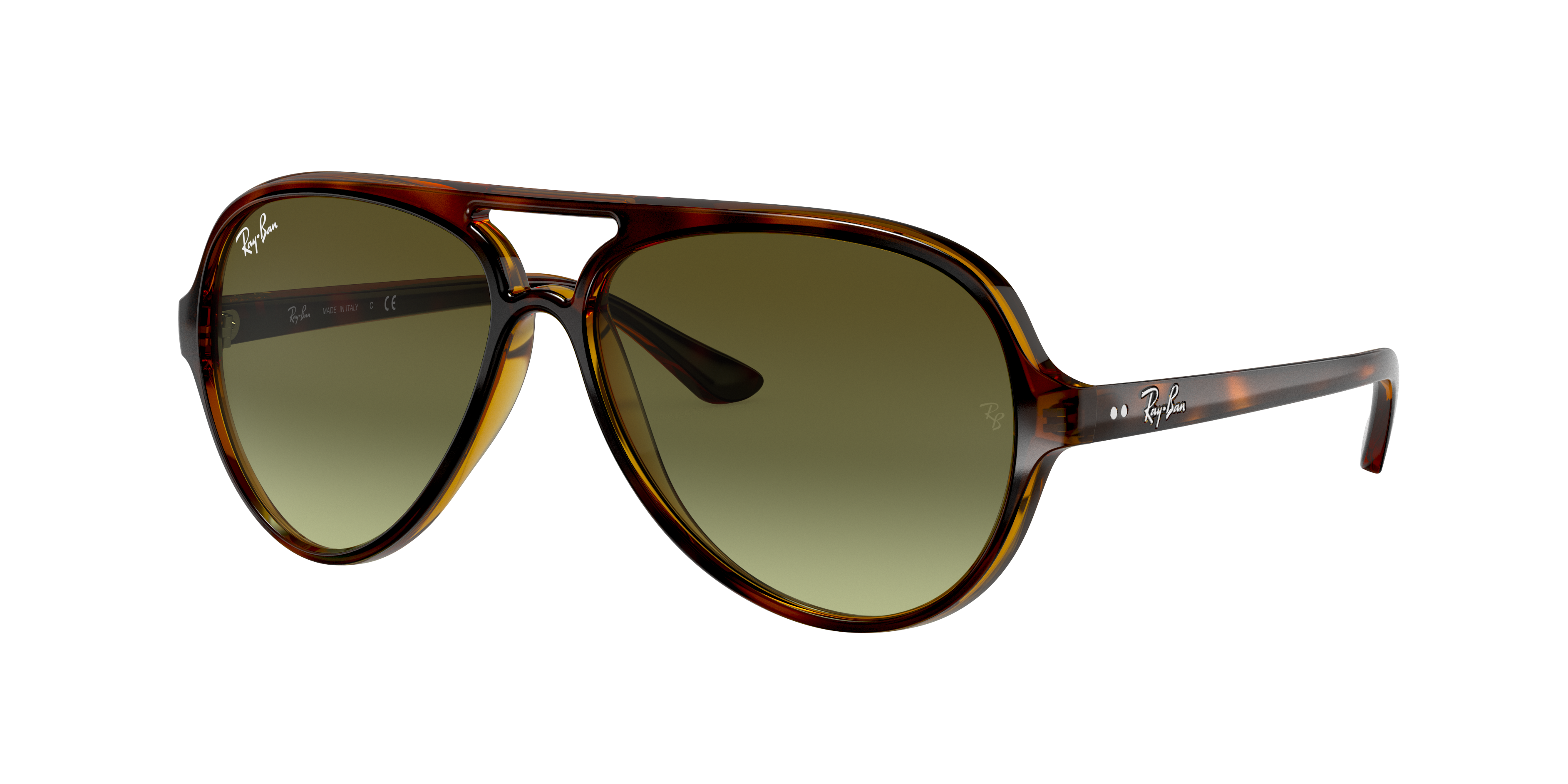 Ray-Ban Cats 5000 Classic Tortoise, Green Lenses - RB4125