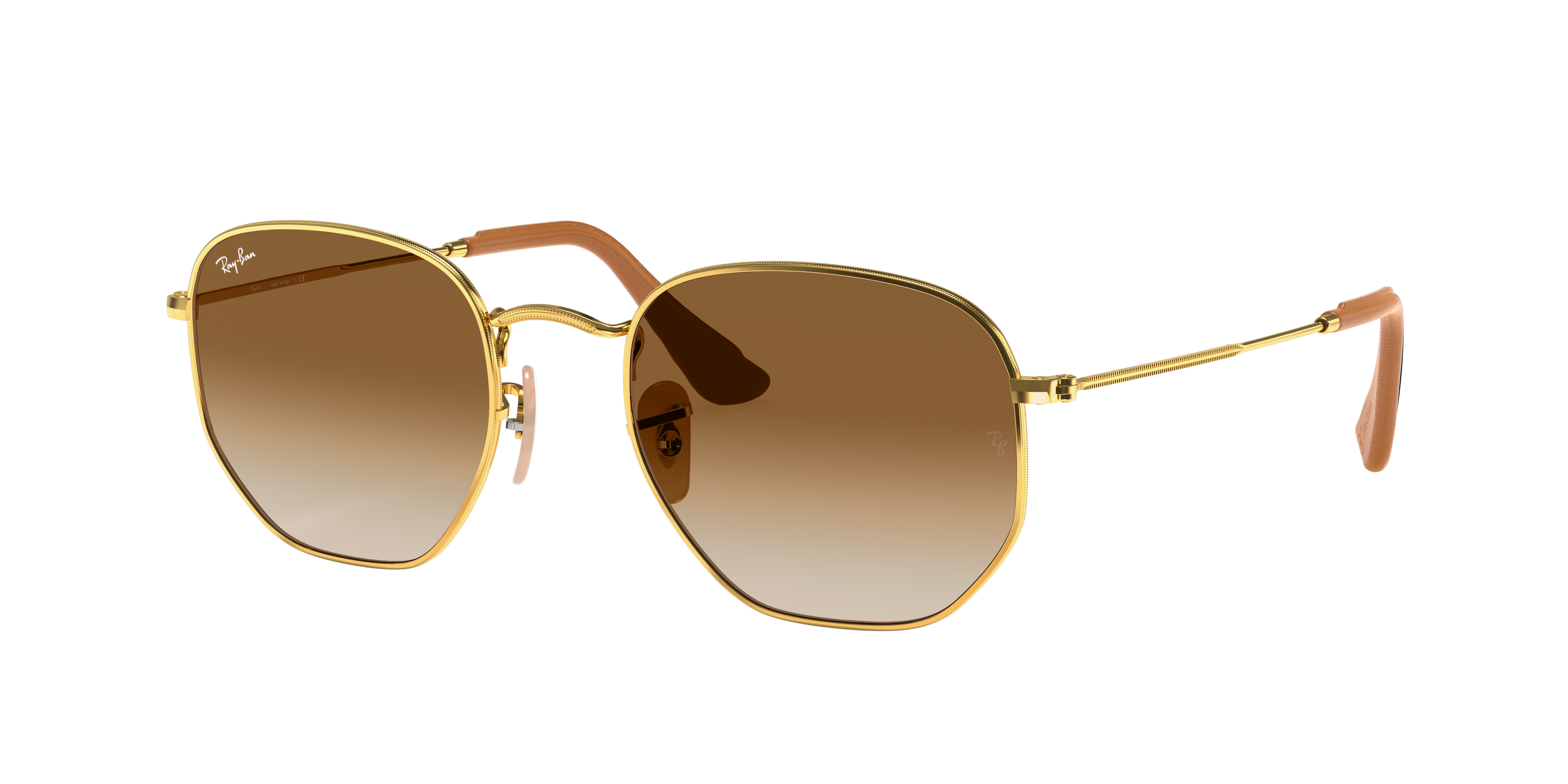 Ray-Ban Hexagonal @collection Gold, Brown Lenses - RB3548N