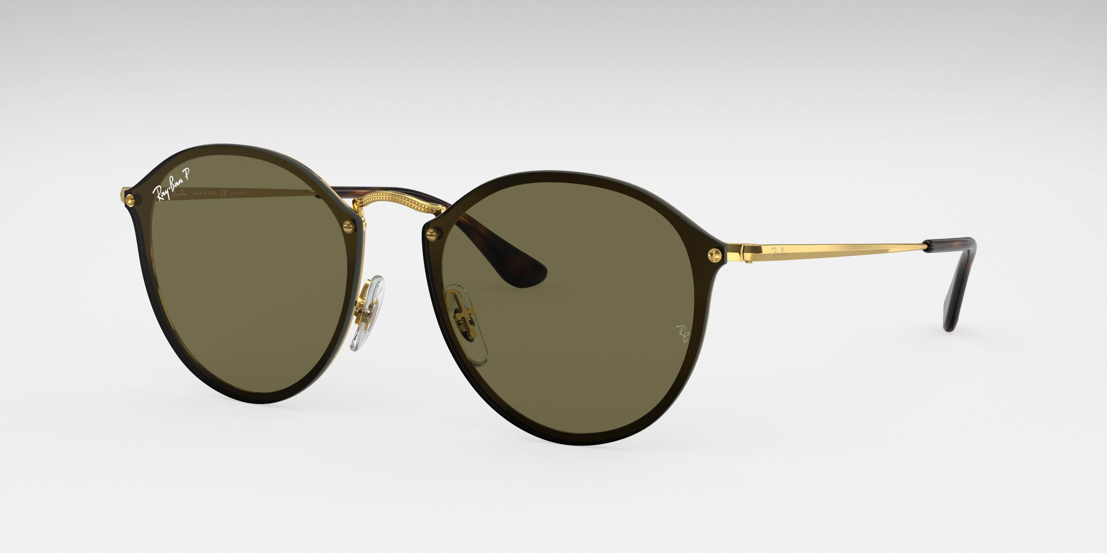 Ray-Ban Blaze Round Gold, Polarized Green Lenses - RB3574N