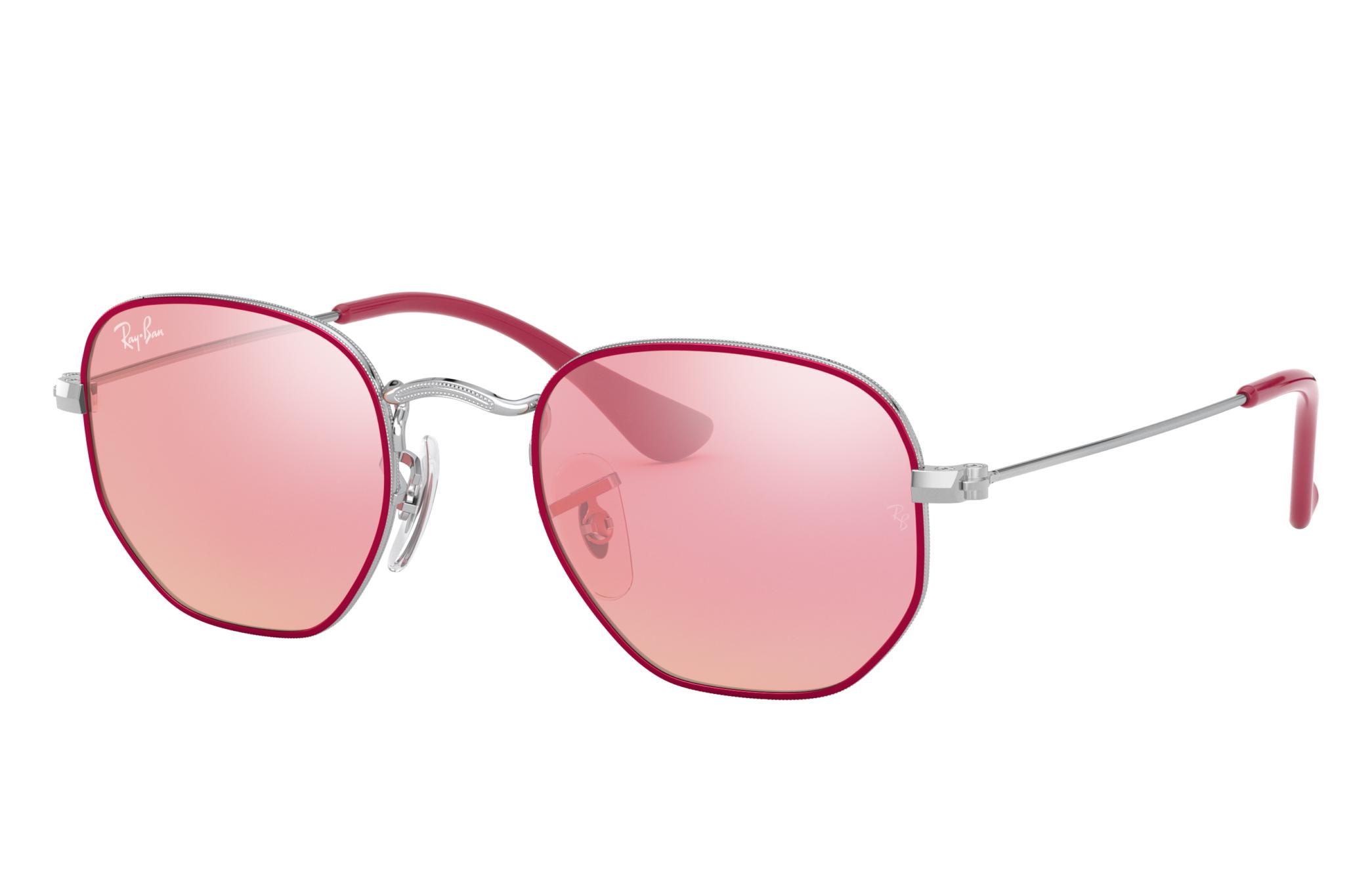 Ray-Ban Hexagonal Junior Silver, Pink Lenses - RJ9541SN