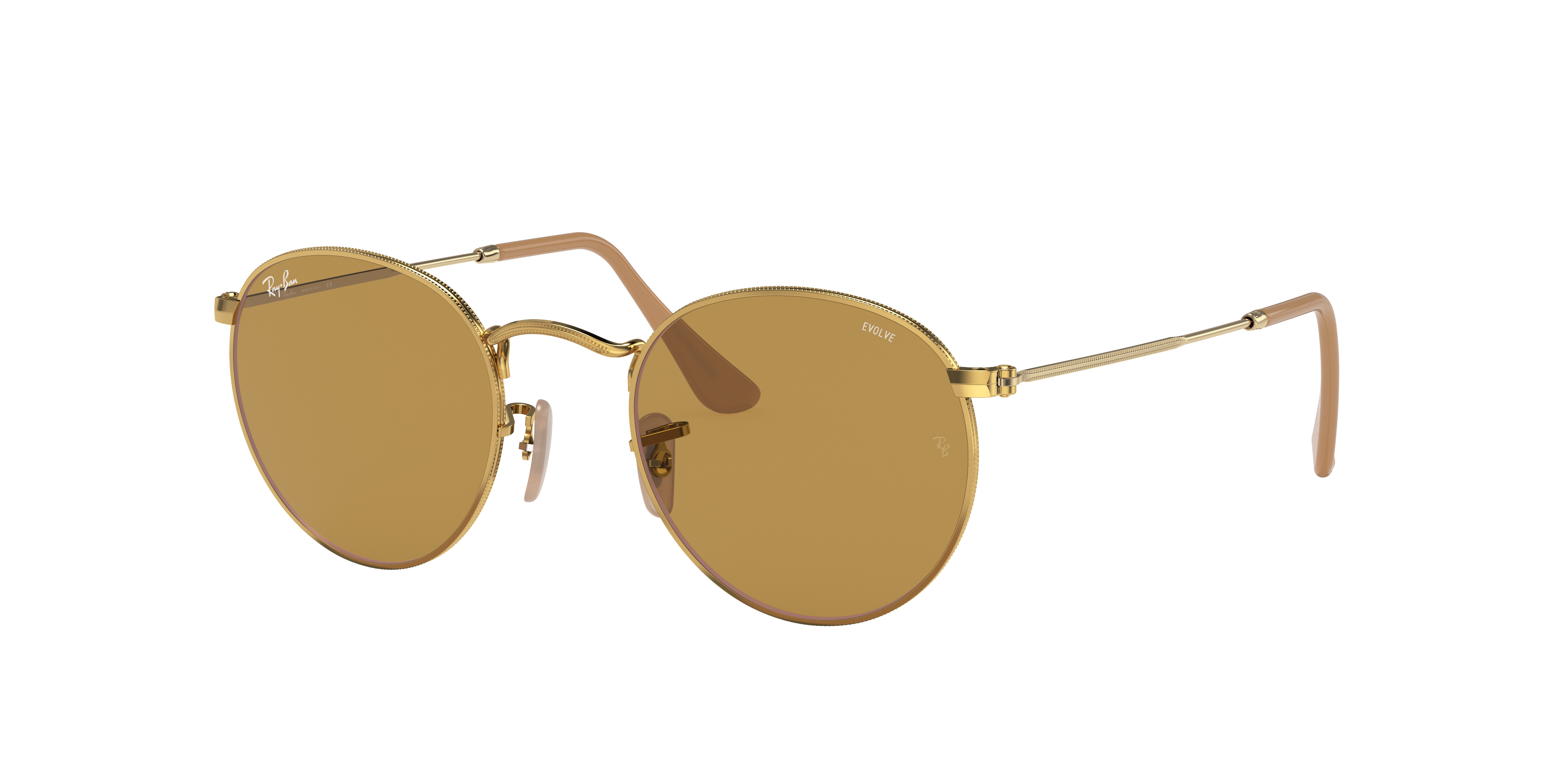 Ray-Ban Round Washed Evolve Gold, Brown Lenses - RB3447
