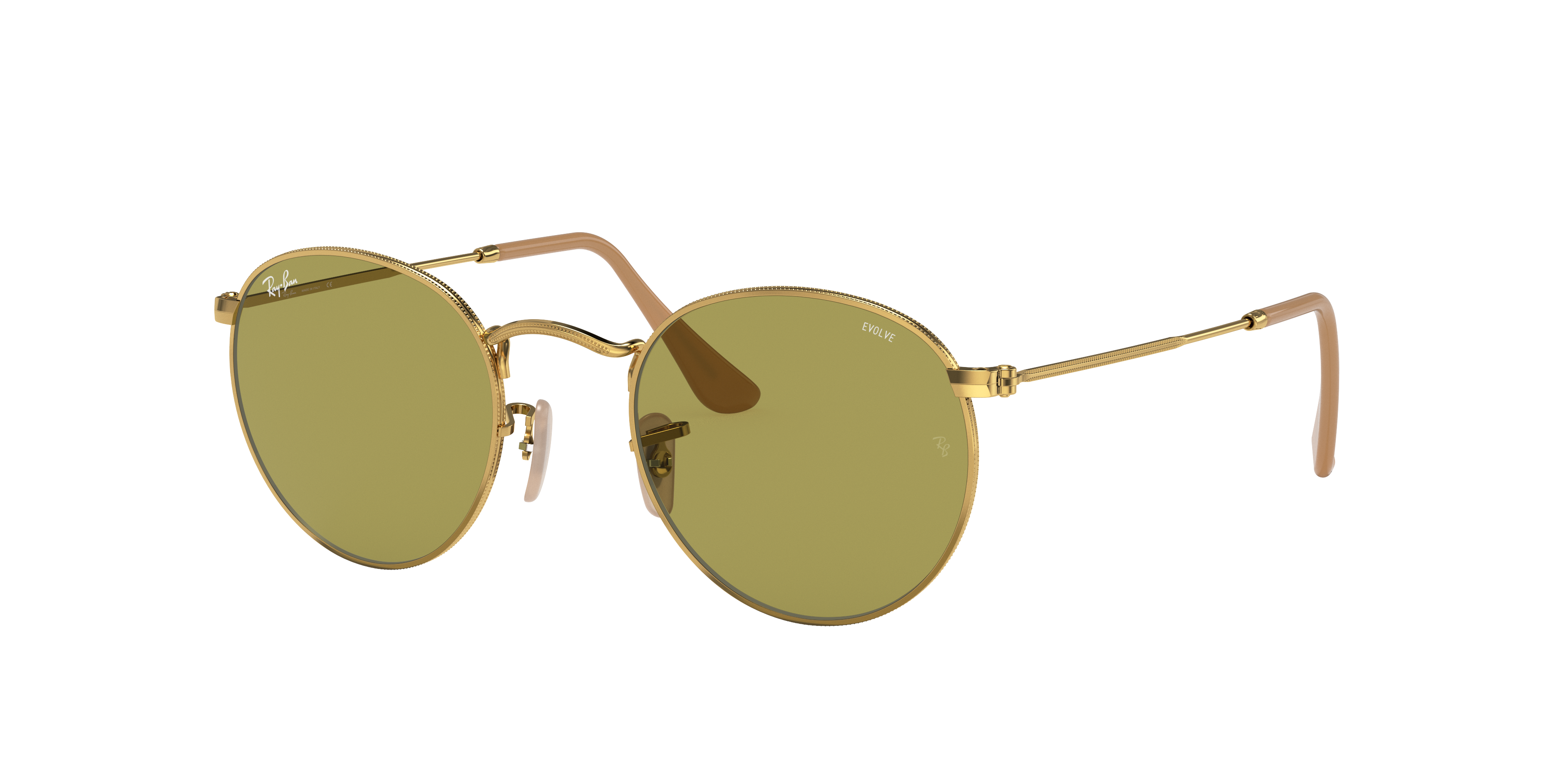 Ray-Ban Round Washed Evolve Gold, Green Lenses - RB3447