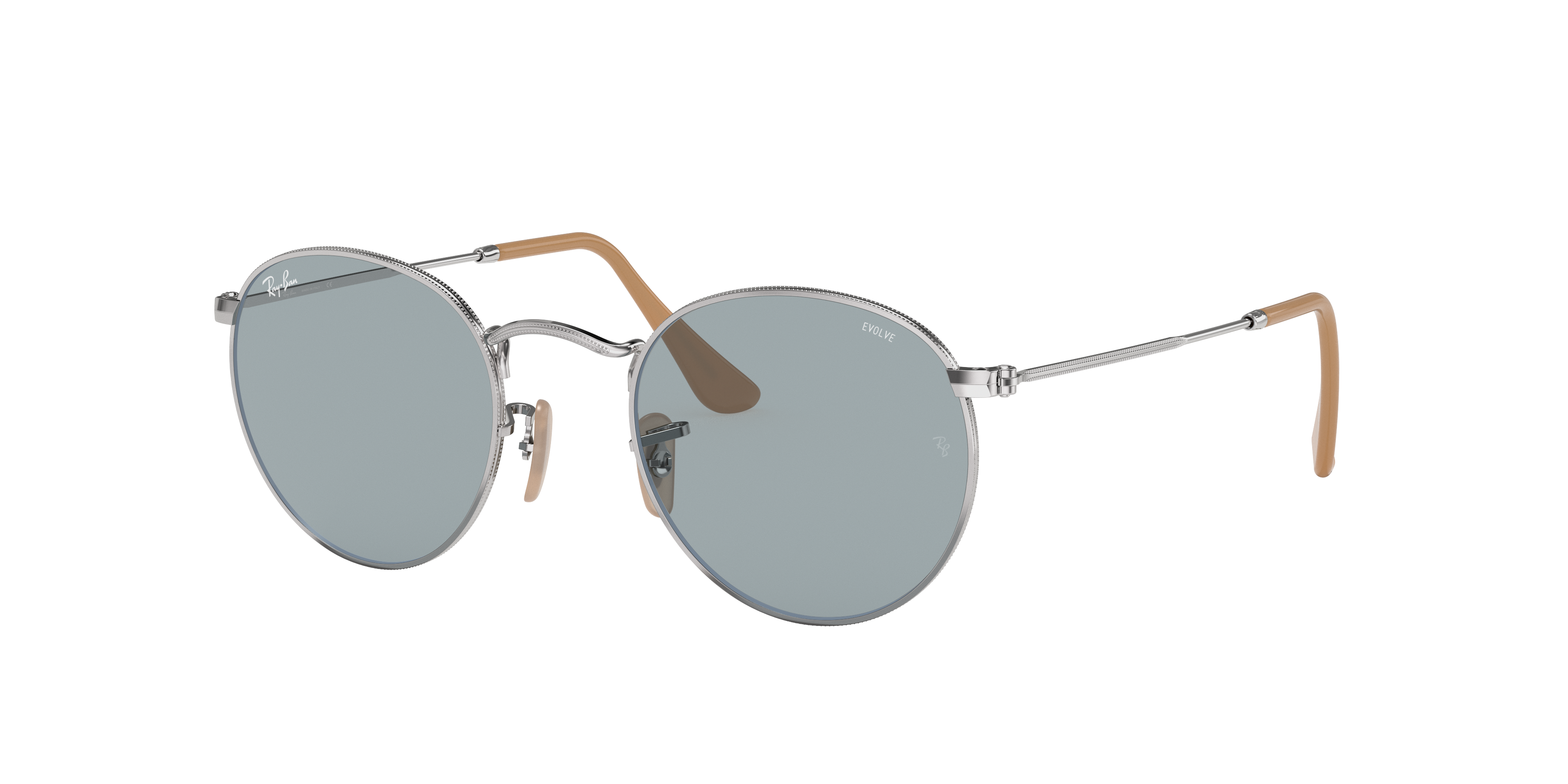 Ray-Ban Round Washed Evolve Silver, Blue Lenses - RB3447