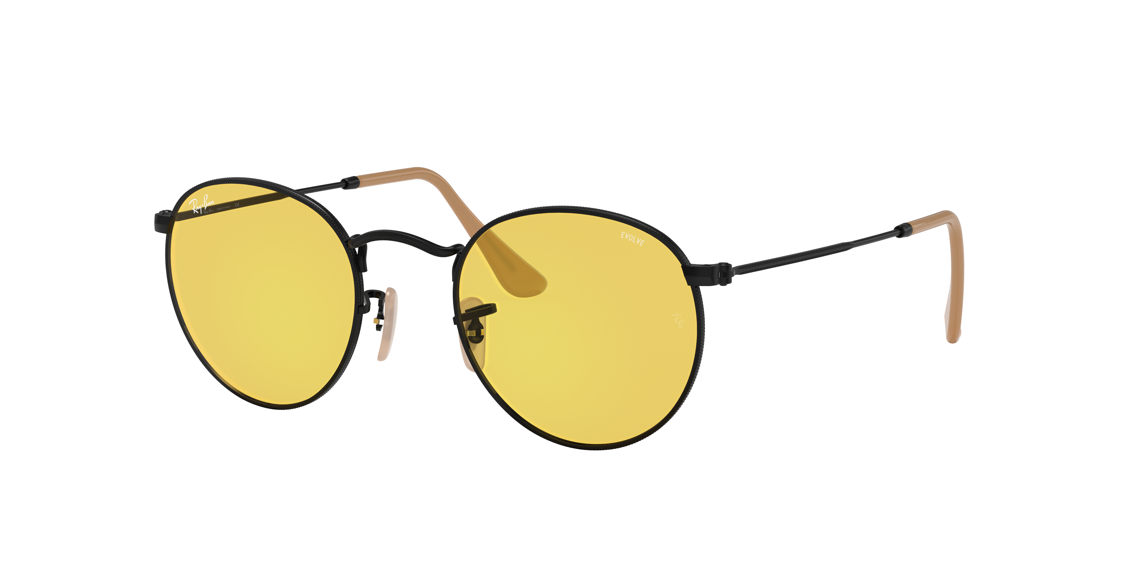Ray-Ban Round Washed Evolve Black, Yellow Lenses - RB3447
