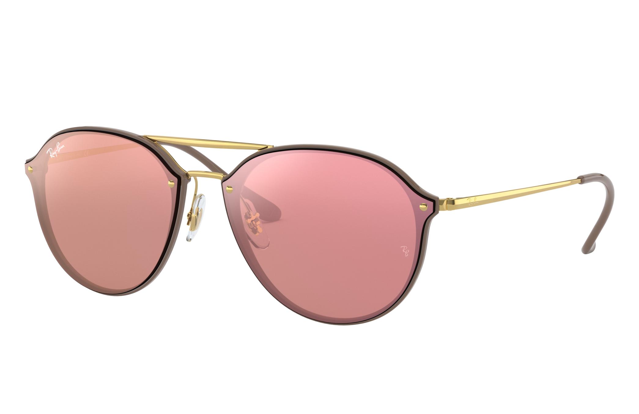 Ray-Ban Blaze Double Bridge Gold, Pink Lenses - RB4292N