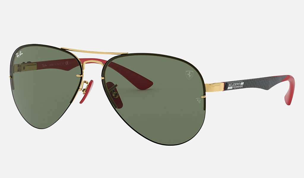 Ray Ban Rb3460m Scuderia Ferrari Collection Rb3460m Gold Metal Green Lenses 0rb3460mf0087159 Ray Ban Norway