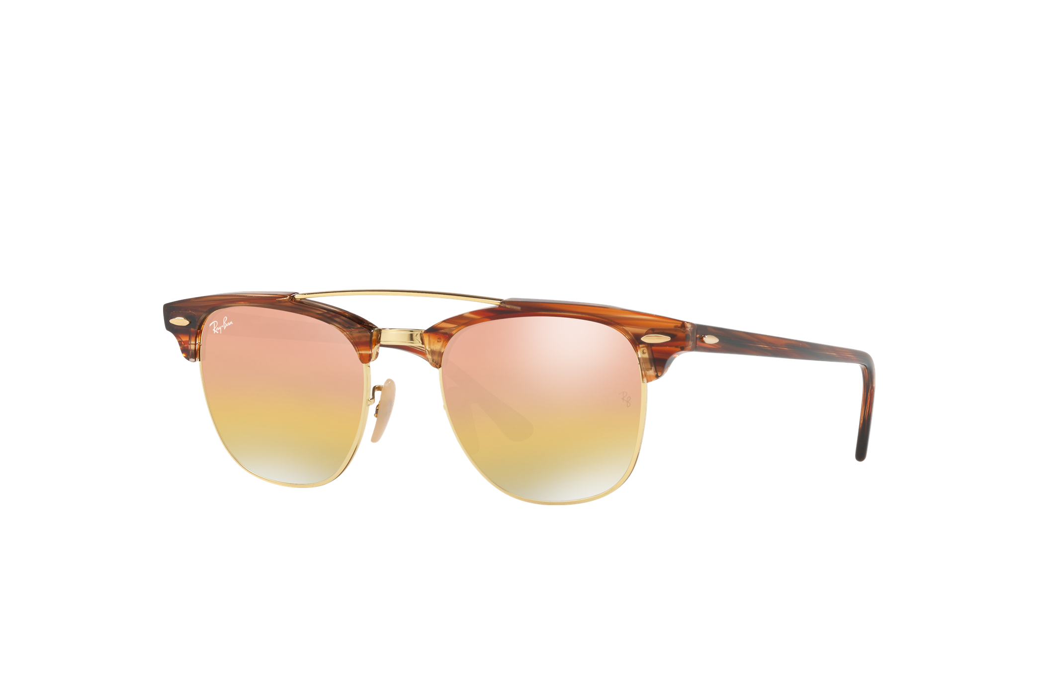 Ray-Ban Clubmaster Double Bridge Light Brown, Pink Lenses - RB3816