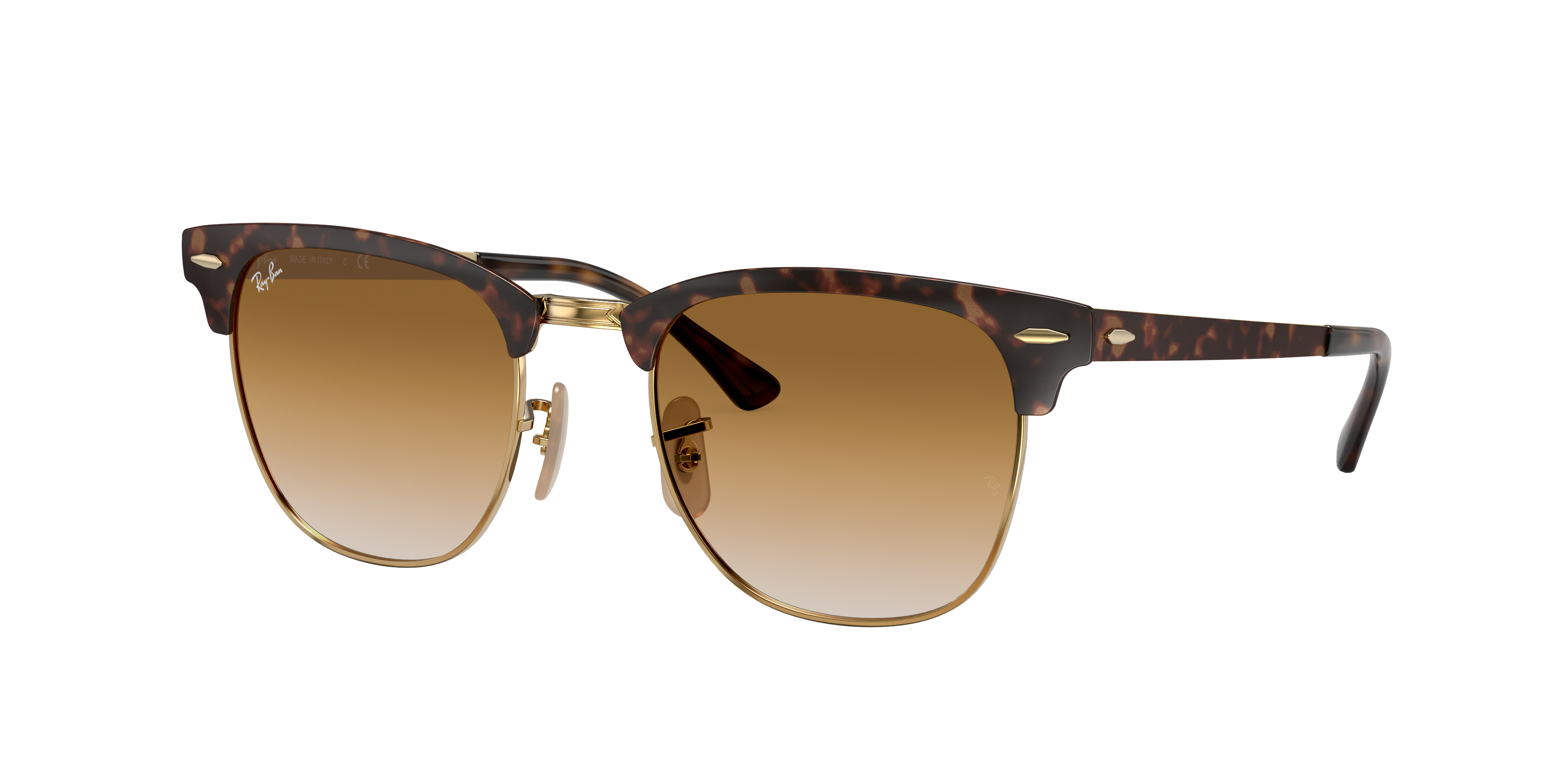 Ray-Ban Clubmaster Metal Tortoise, Brown Lenses - RB3716