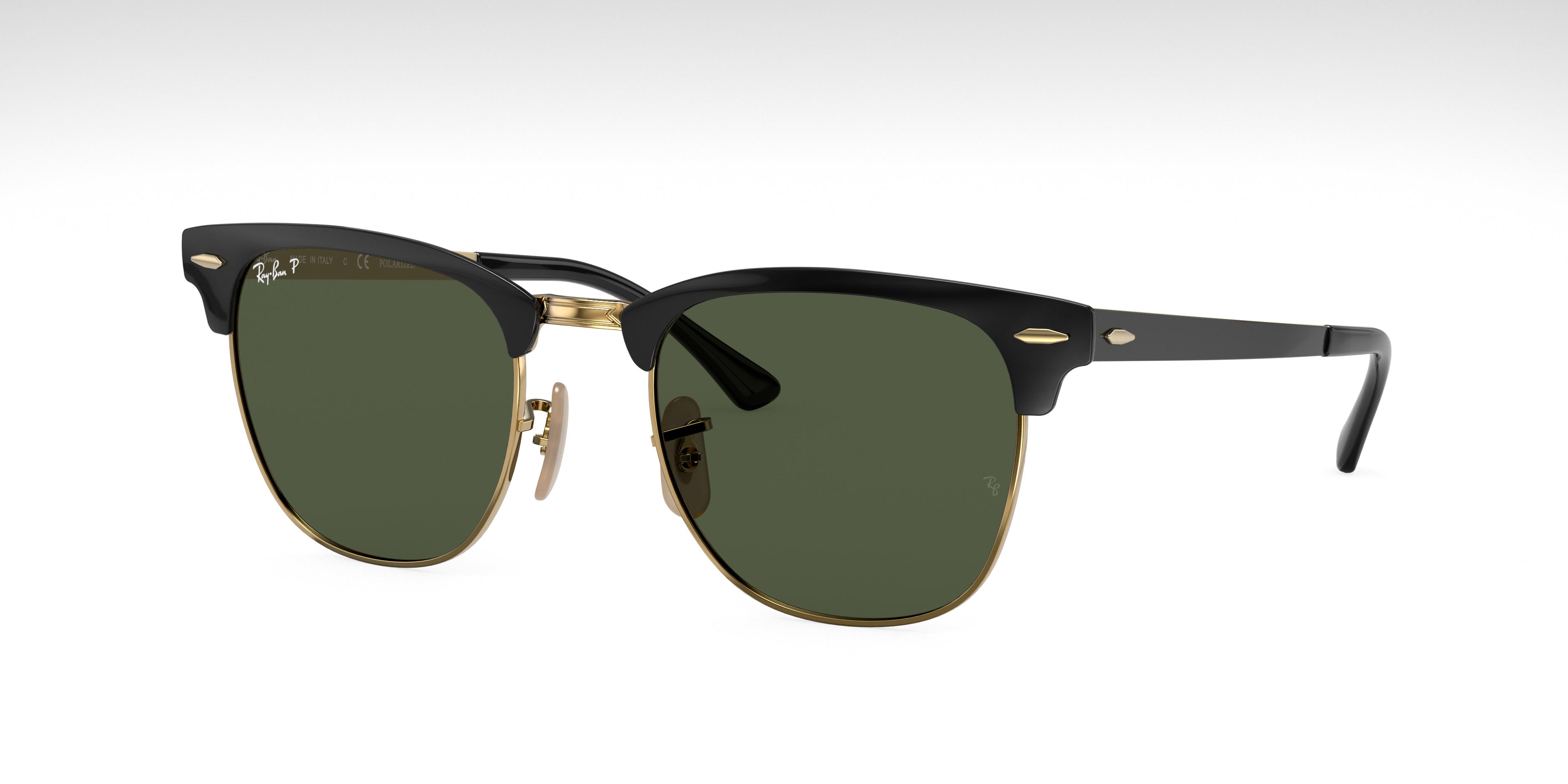 Ray-Ban Clubmaster Metal Black, Polarized Green Lenses - RB3716