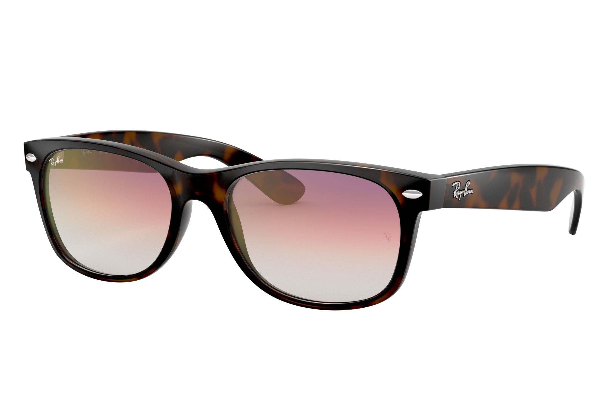 Ray-Ban New Wayfarer Flash Gradient Lenses Tortoise, Violet Lenses - RB2132