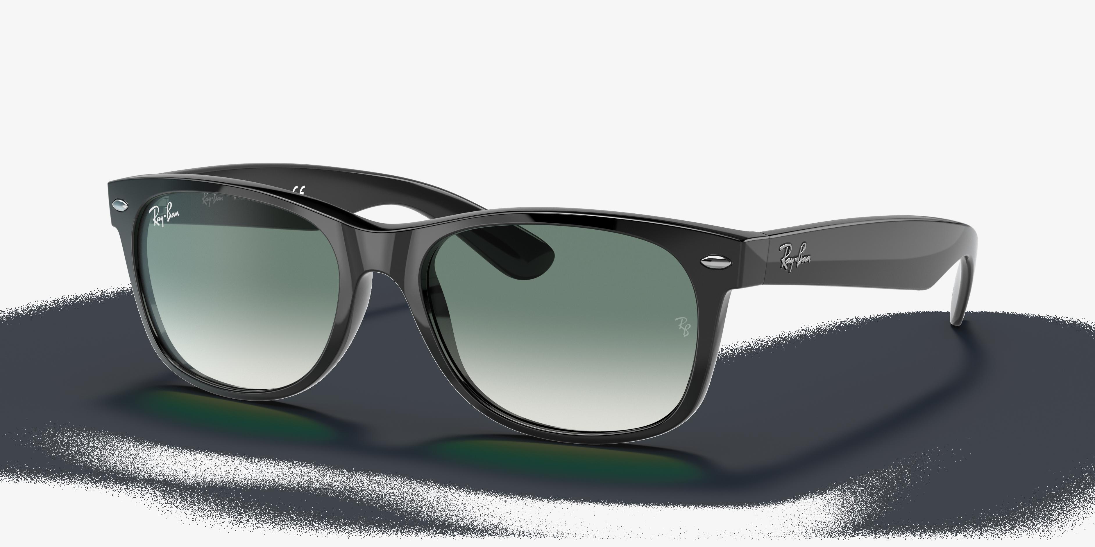 Ray-Ban New Wayfarer Flash Gradient Lenses Black, Green Lenses - RB2132