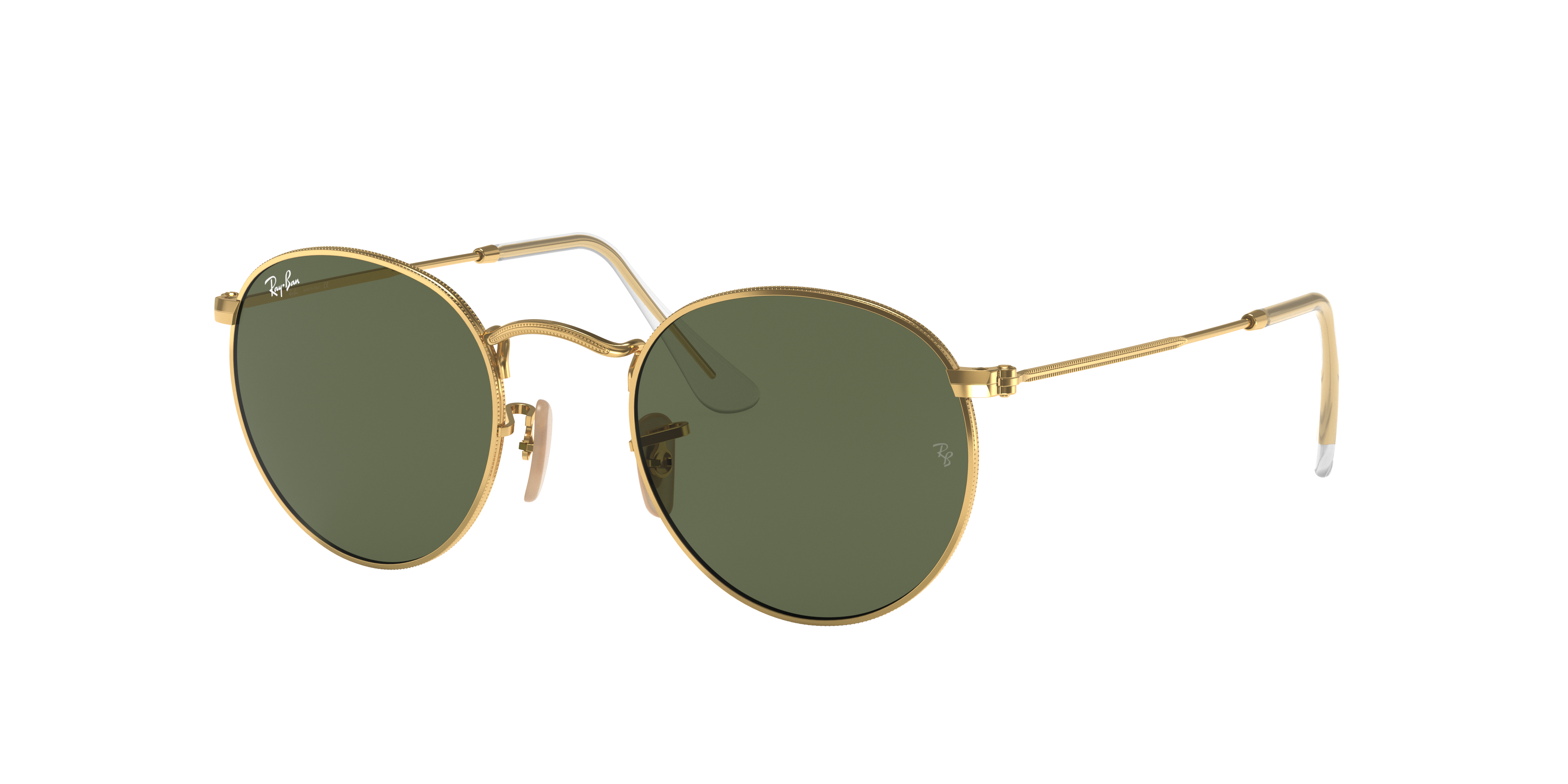Ray-Ban Round Flat Lenses Gold, Green Lenses - RB3447N