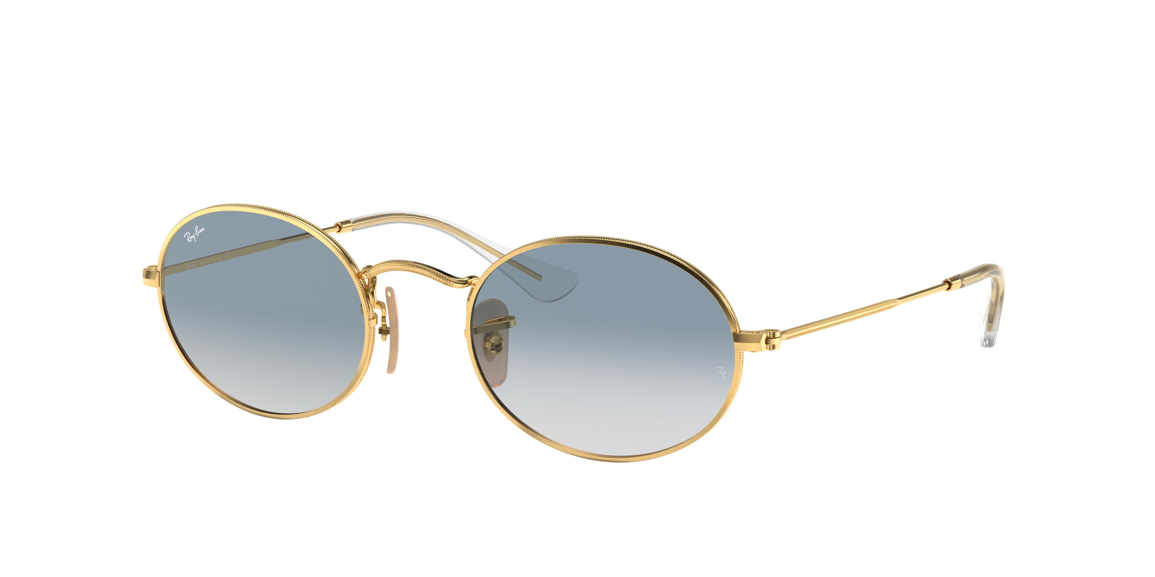 Ray-Ban Oval Flat Lenses Gold, Blue Lenses - RB3547N