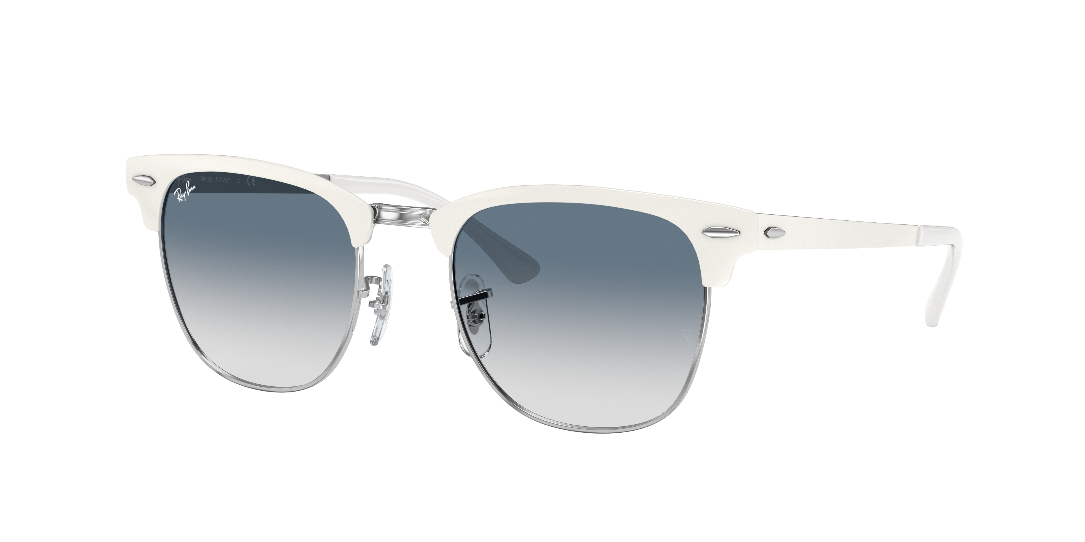 Ray-Ban Clubmaster Metal White, Blue Lenses - RB3716