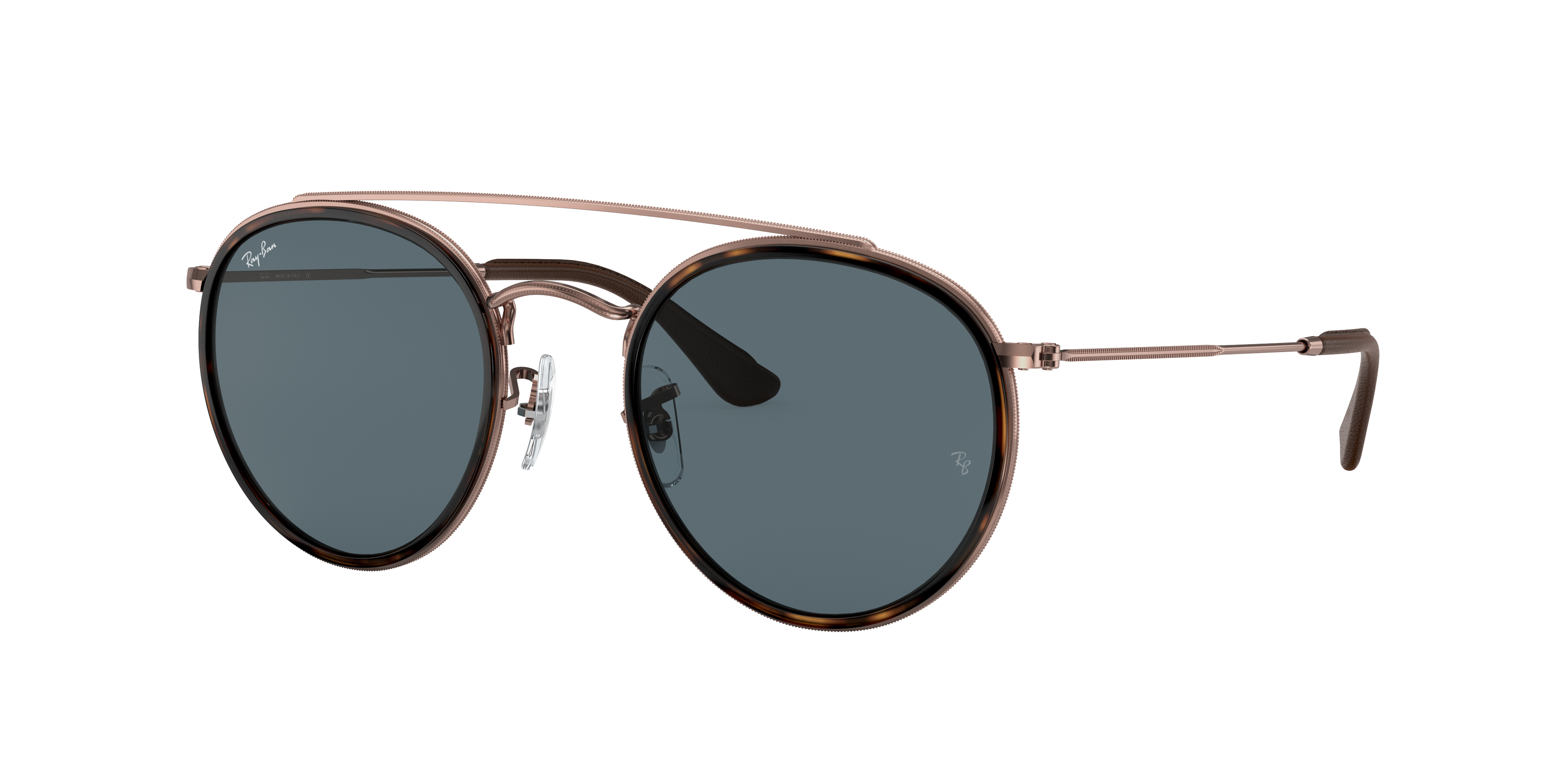 Ray-Ban Round Double Bridge @collection Bronze-Copper, Blue Lenses - RB3647N