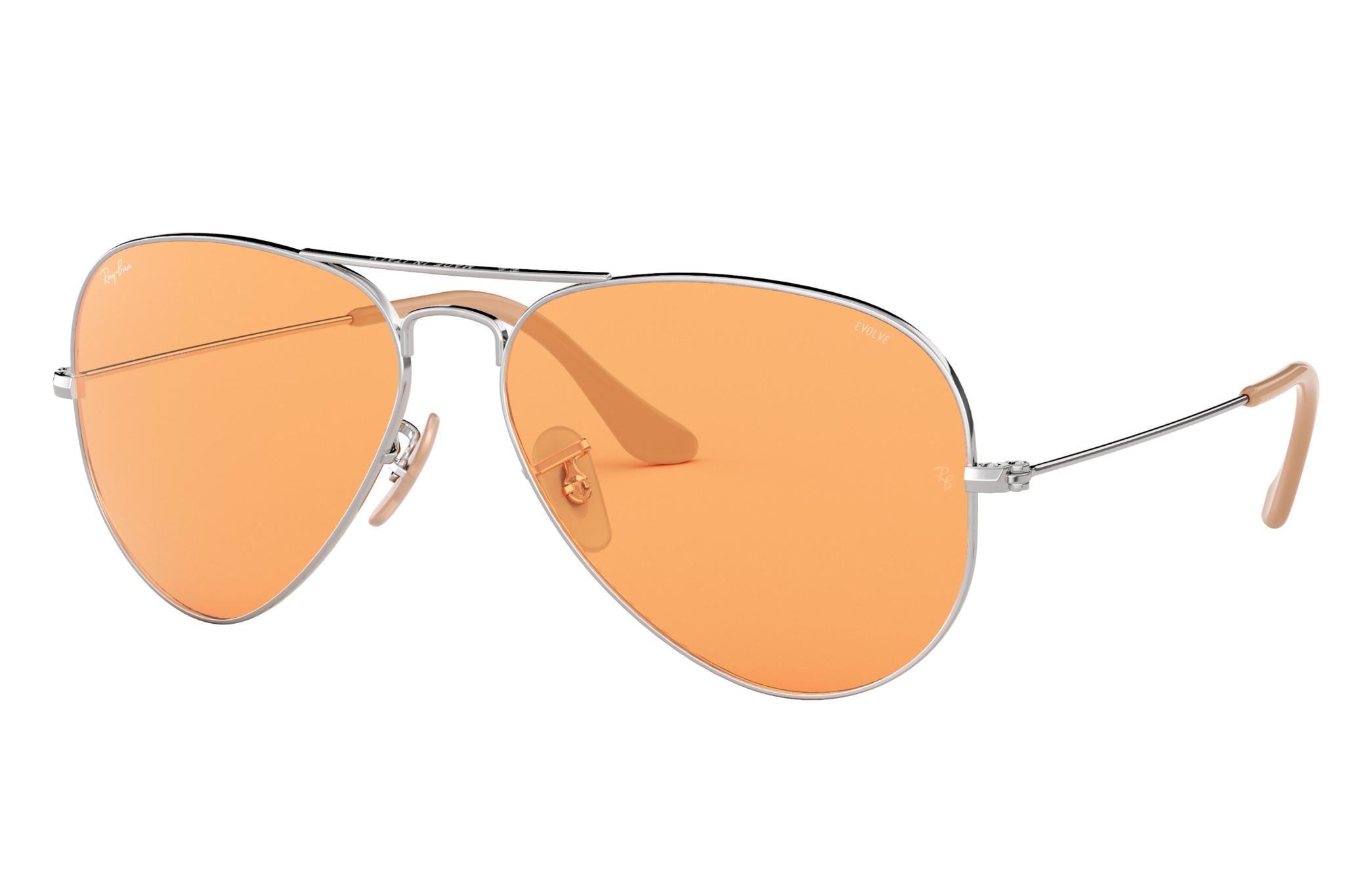Ray-Ban Aviator Washed Evolve Silver, Orange Lenses - RB3025