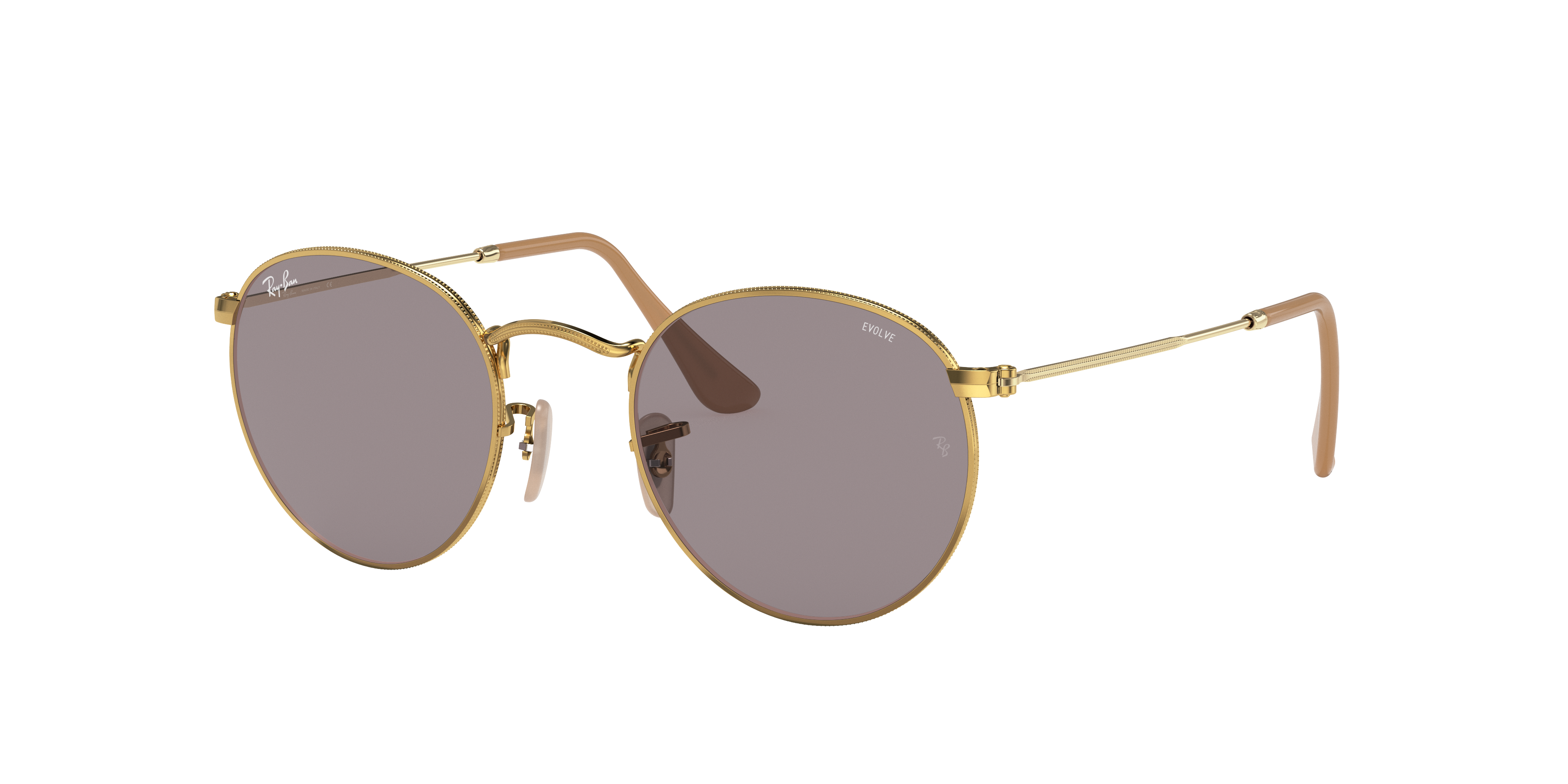 Ray-Ban Round Washed Evolve Gold, Gray Lenses - RB3447