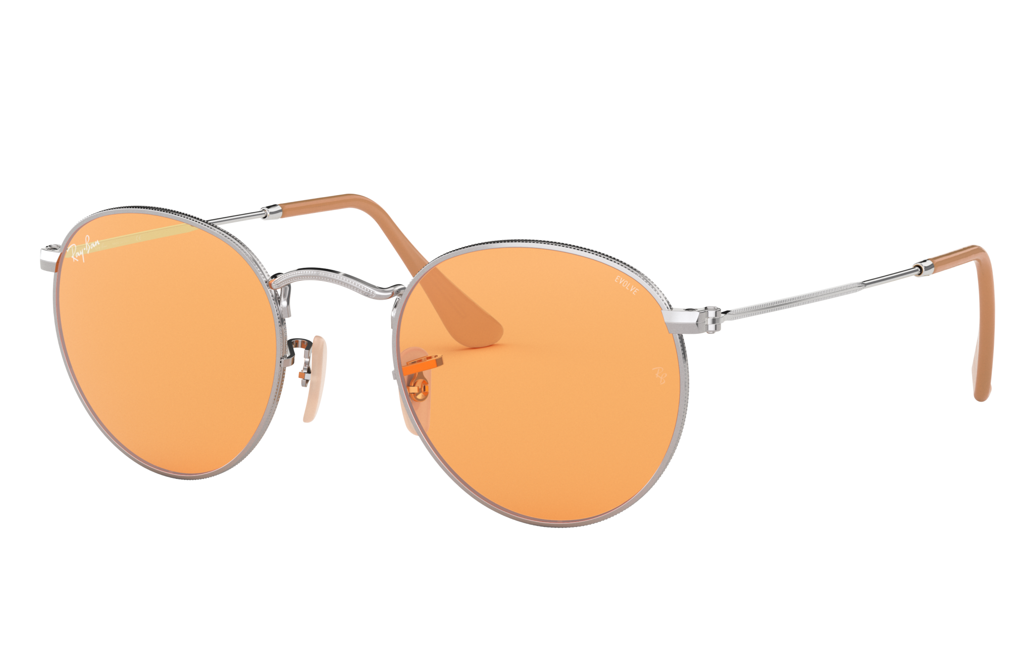 Ray-Ban Round Washed Evolve Silver, Orange Lenses - RB3447