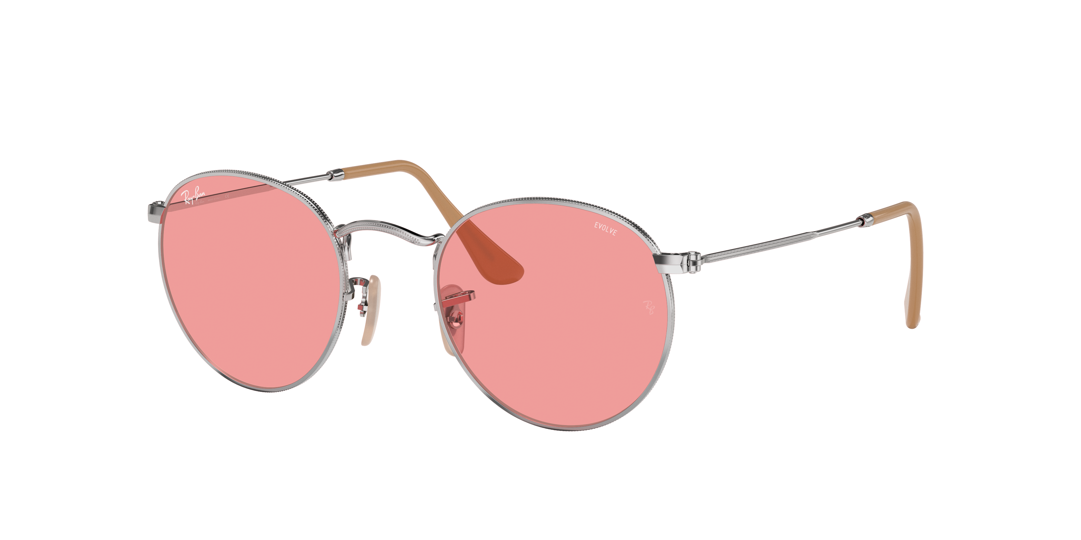 Ray-Ban Round Washed Evolve Silver, Pink Lenses - RB3447