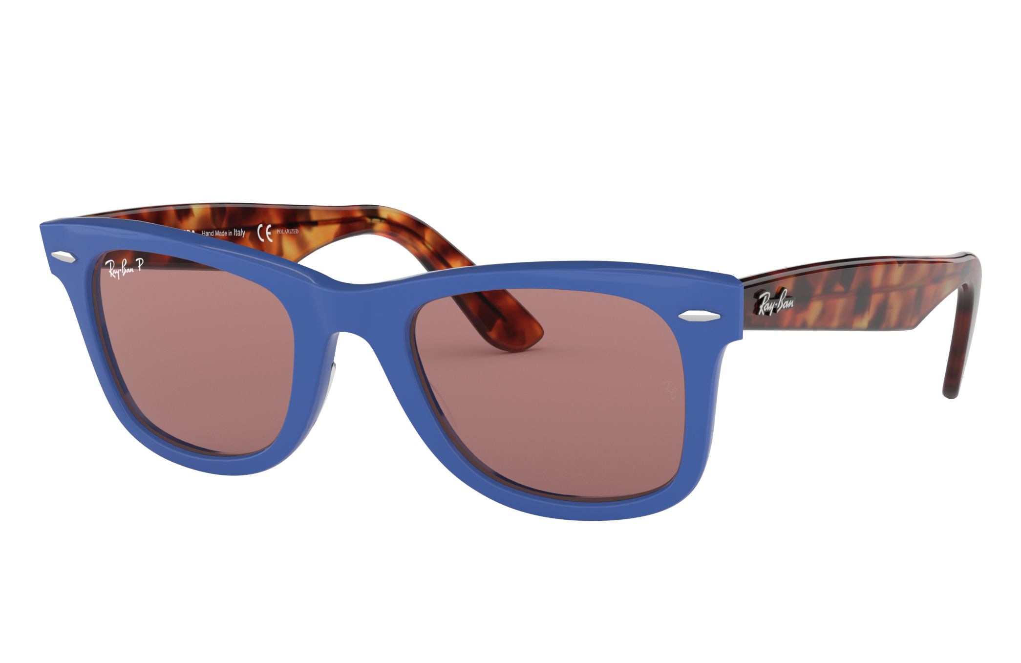 Ray-Ban Wayfarer Pop Tortoise, Polarized Violet Lenses - RB2140