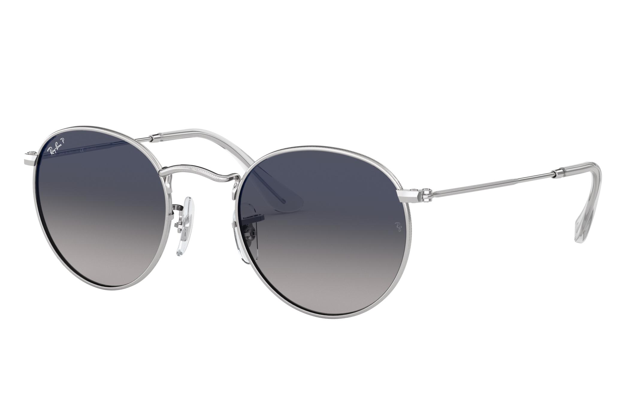 Ray-Ban Round Flat Lenses Silver, Polarized Blue Lenses - RB3447N