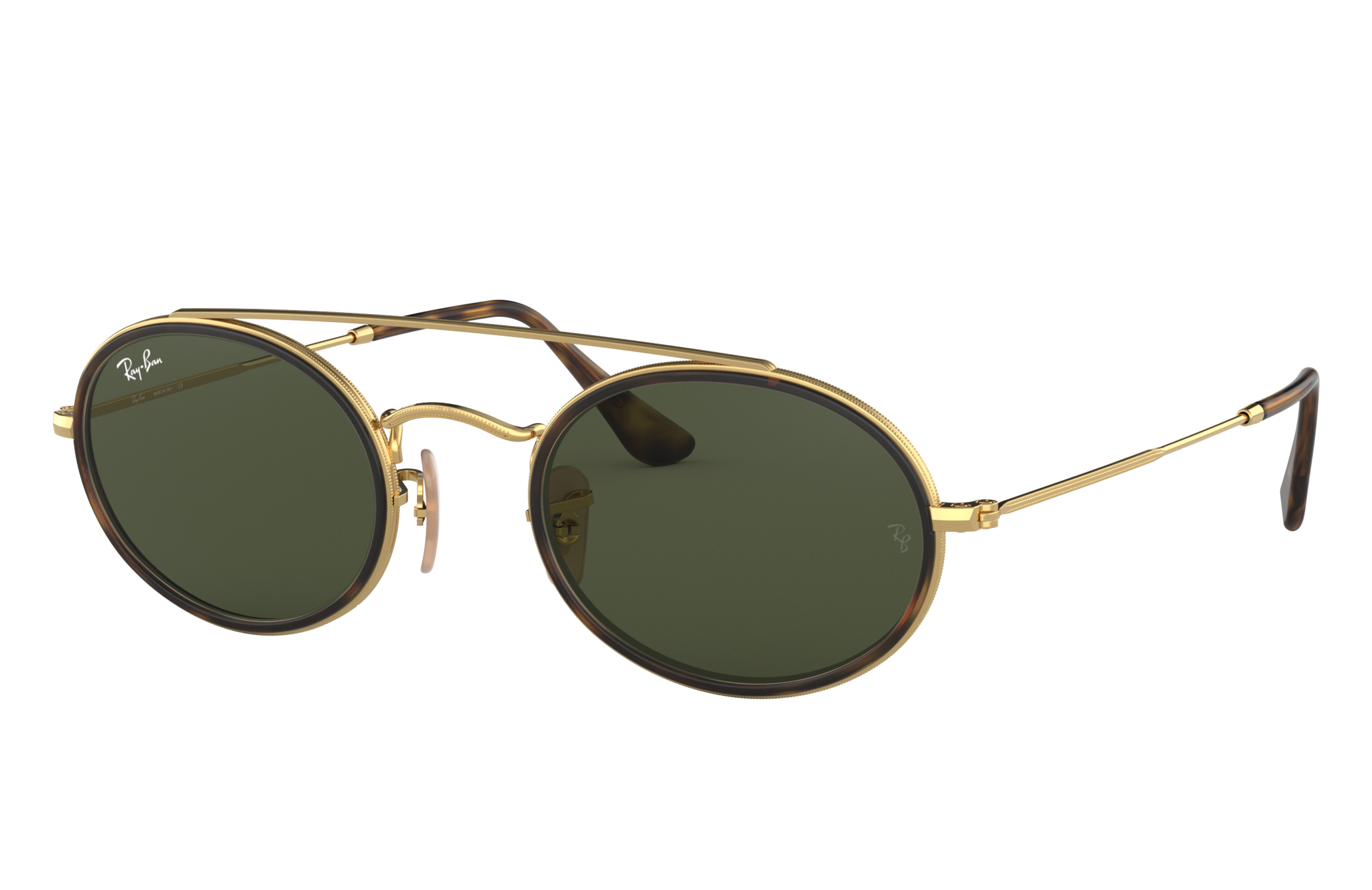 Ray-Ban Oval Double Bridge Gold, Green Lenses - RB3847N