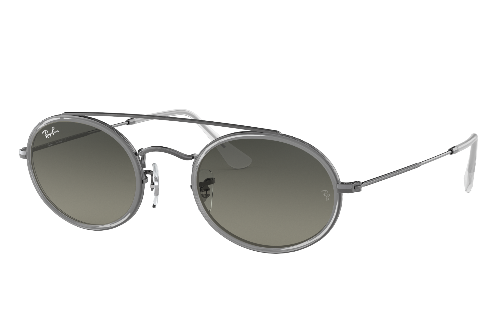 Ray-Ban Oval Double Bridge Gunmetal, Gray Lenses - RB3847N