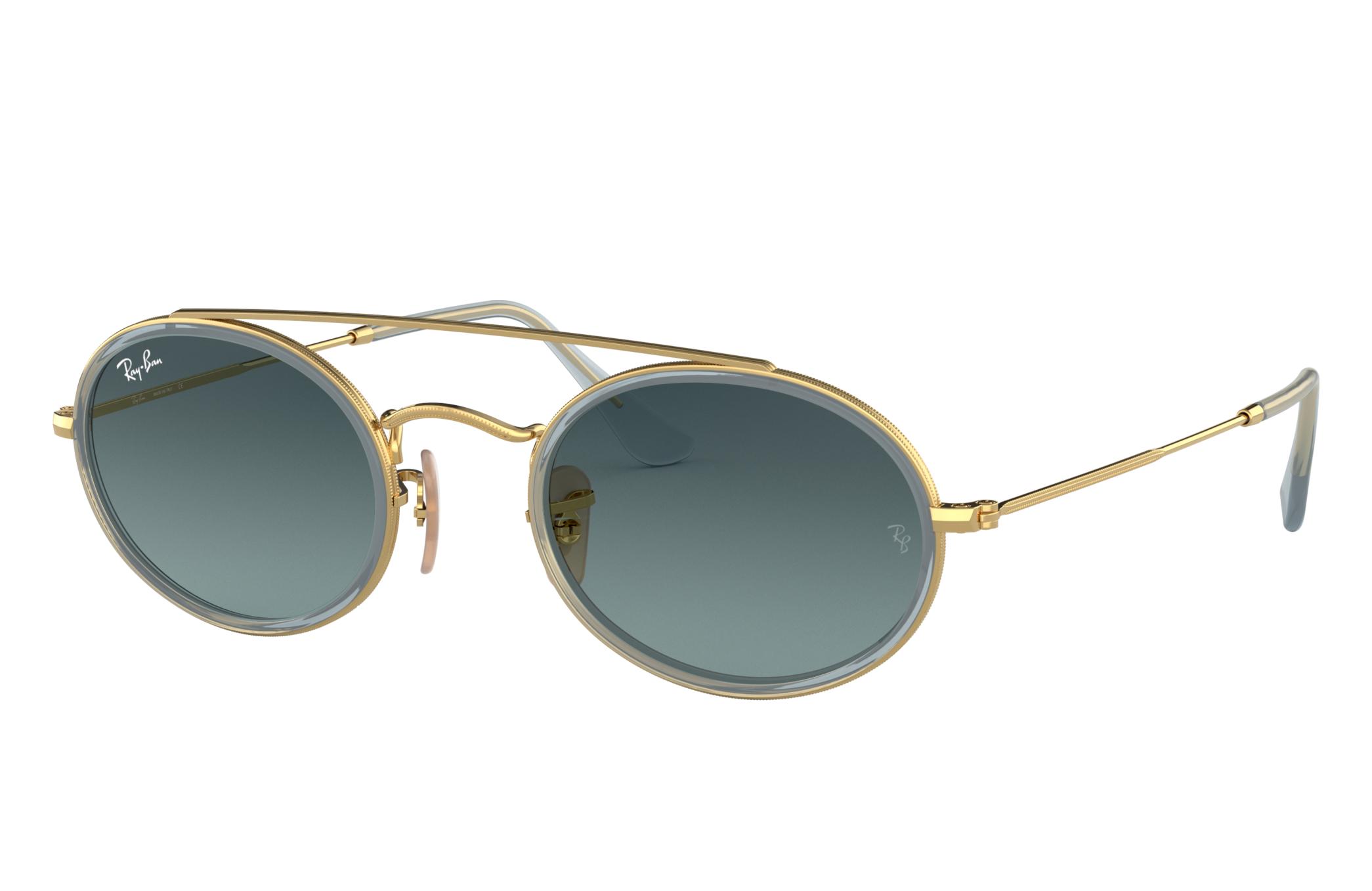 Ray-Ban Oval Double Bridge Gold, Blue Lenses - RB3847N