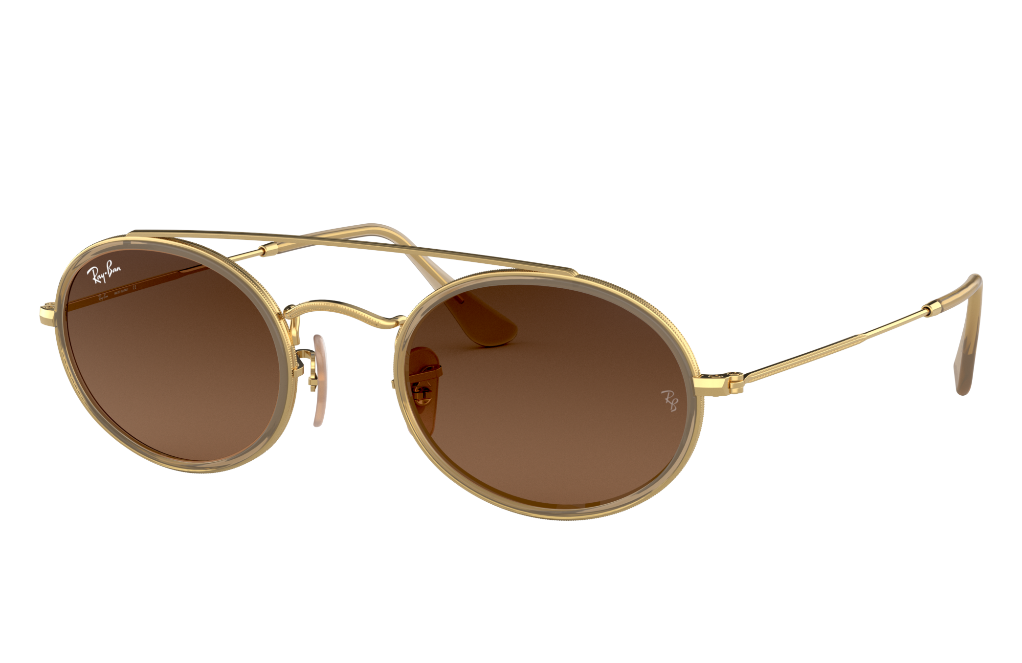 Ray-Ban Oval Double Bridge Gold, Brown Lenses - RB3847N