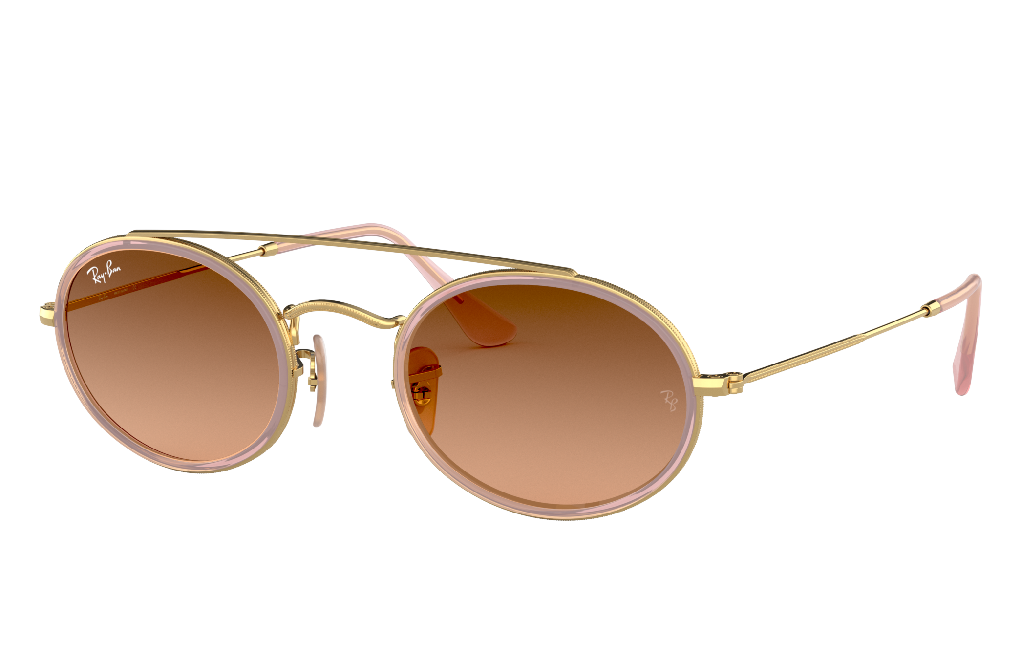 Ray-Ban Oval Double Bridge Gold, Pink Lenses - RB3847N