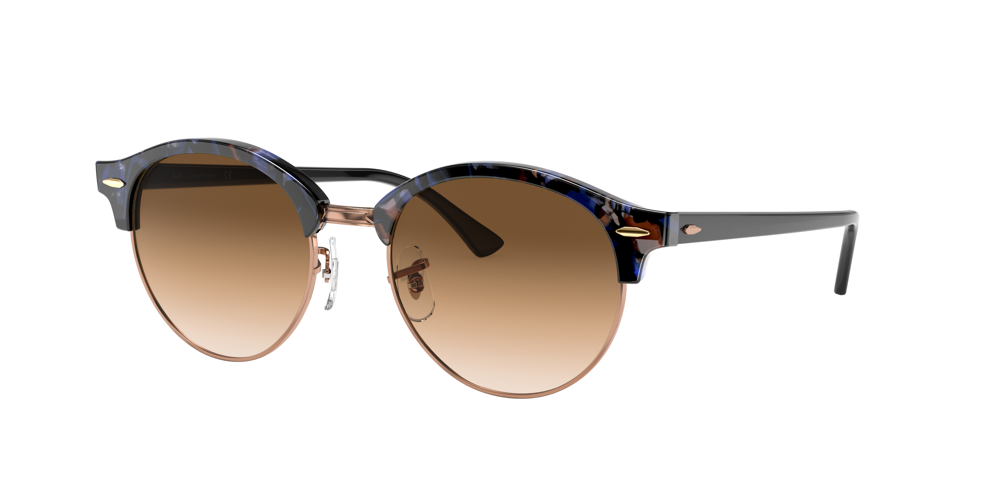 Ray-Ban Clubround Fleck Black, Brown Lenses - RB4246