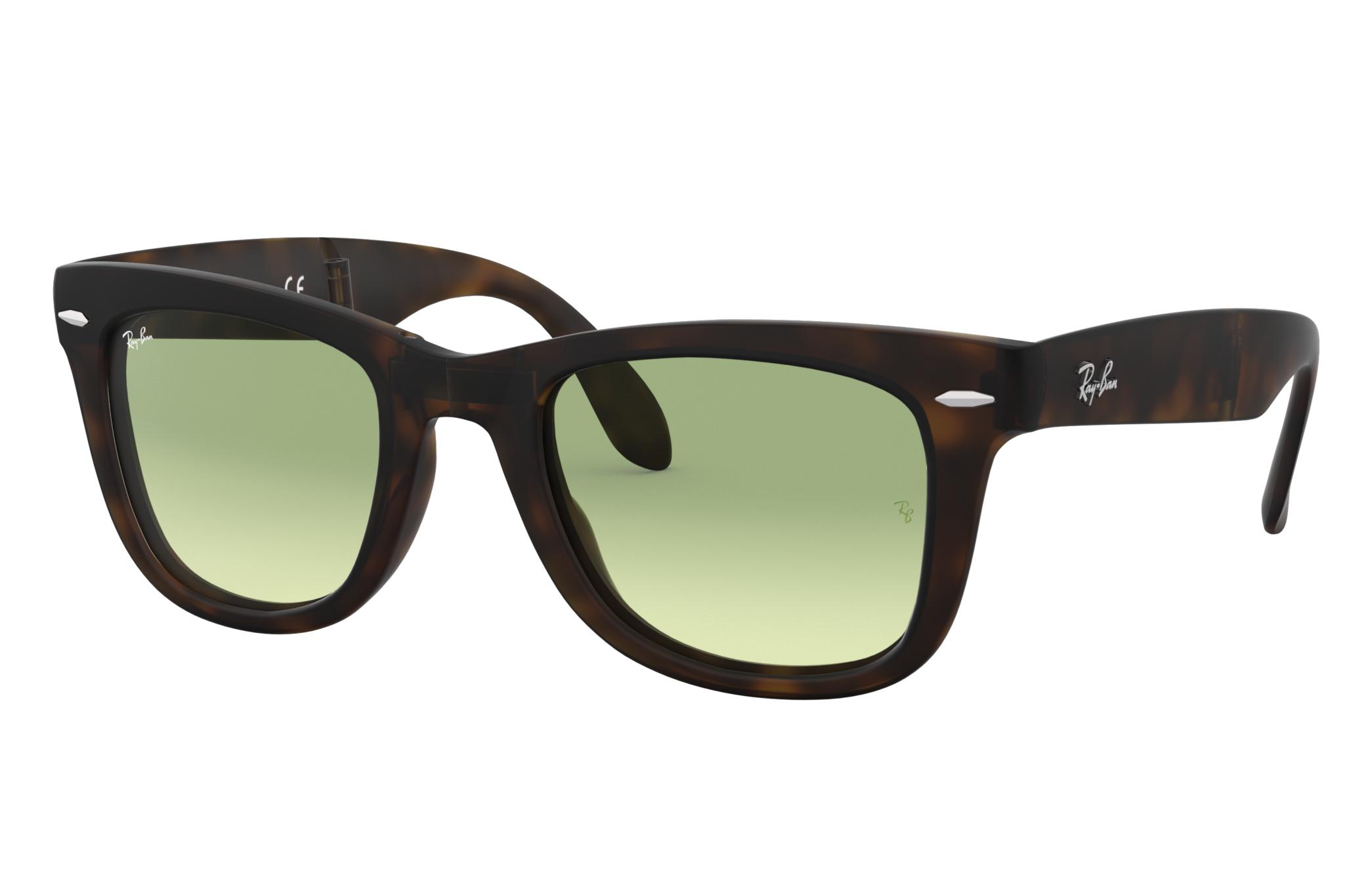 Ray-Ban Wayfarer Folding Gradient Tortoise, Green Lenses - RB4105