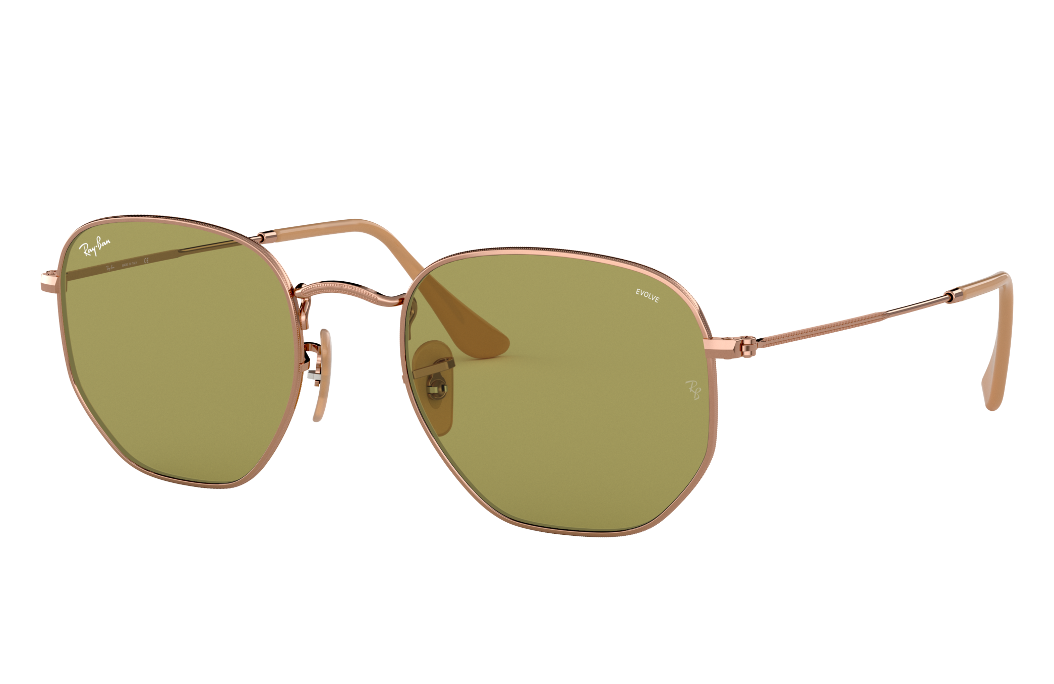 Ray-Ban Hexagonal Washed Evolve Bronze-Copper, Green Lenses - RB3548N
