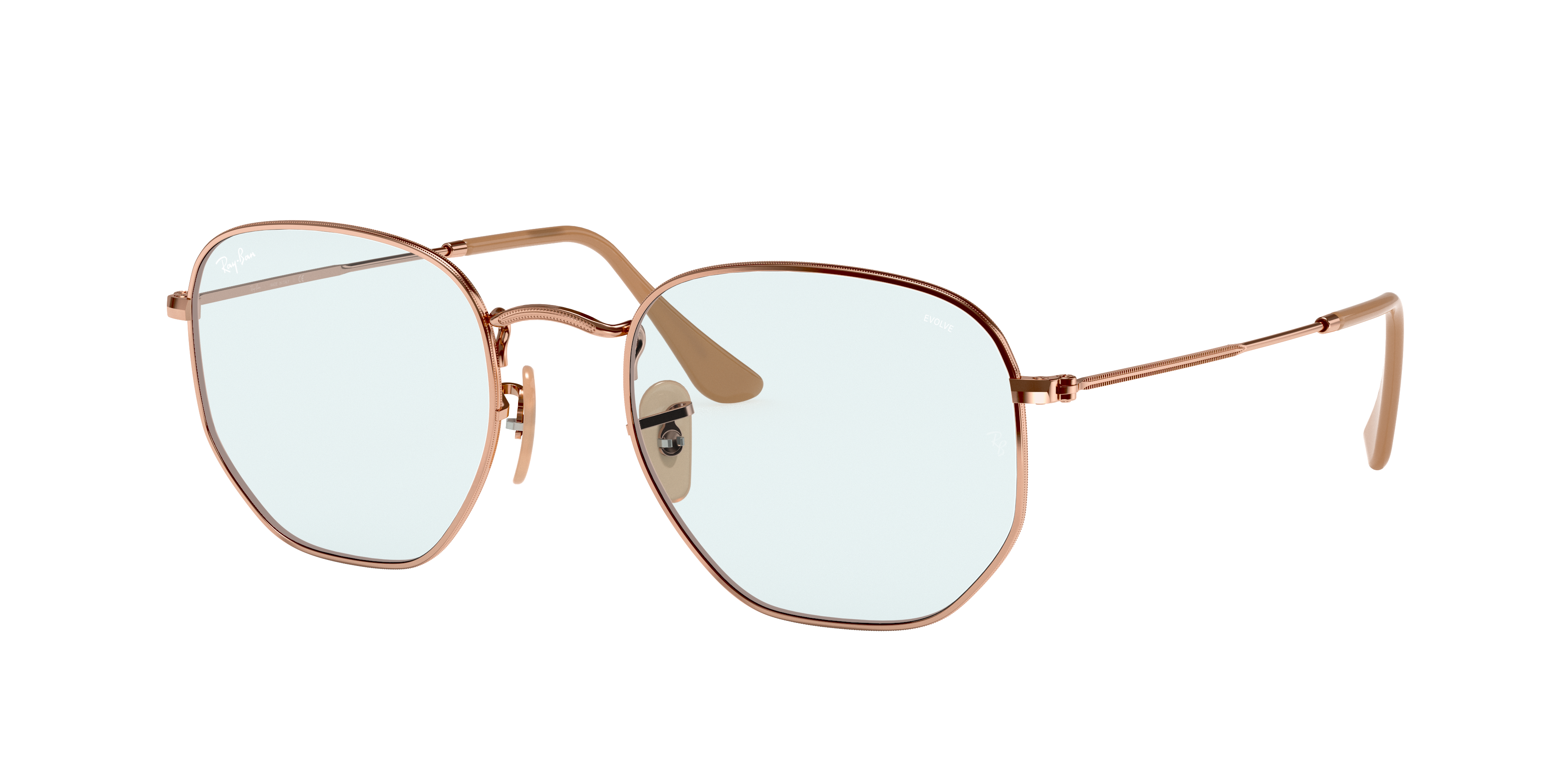 Ray-Ban Hexagonal Washed Evolve Bronze-Copper, Blue Lenses - RB3548N