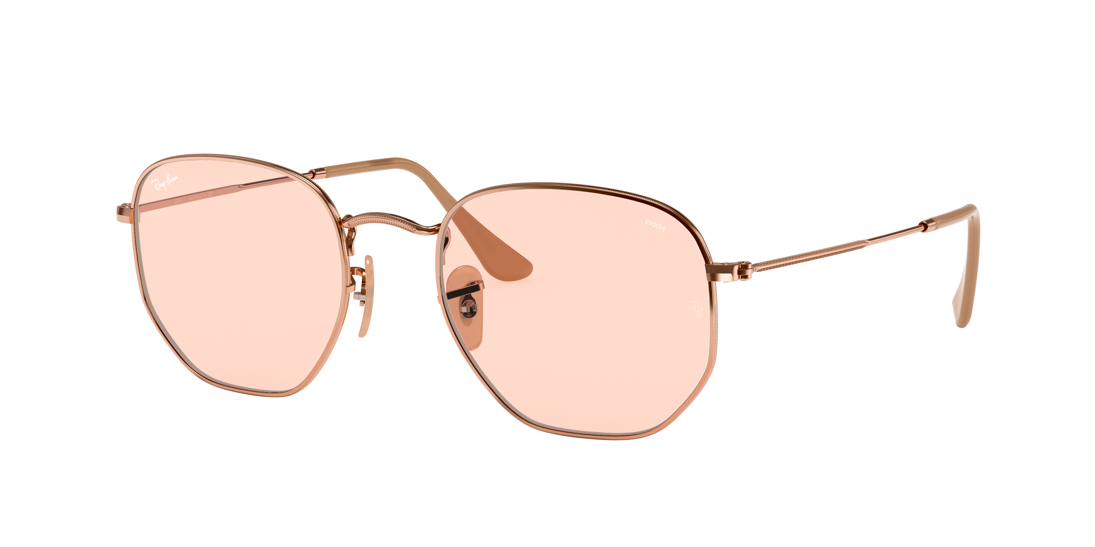 Ray-Ban Hexagonal Washed Evolve Bronze-Copper, Pink Lenses - RB3548N