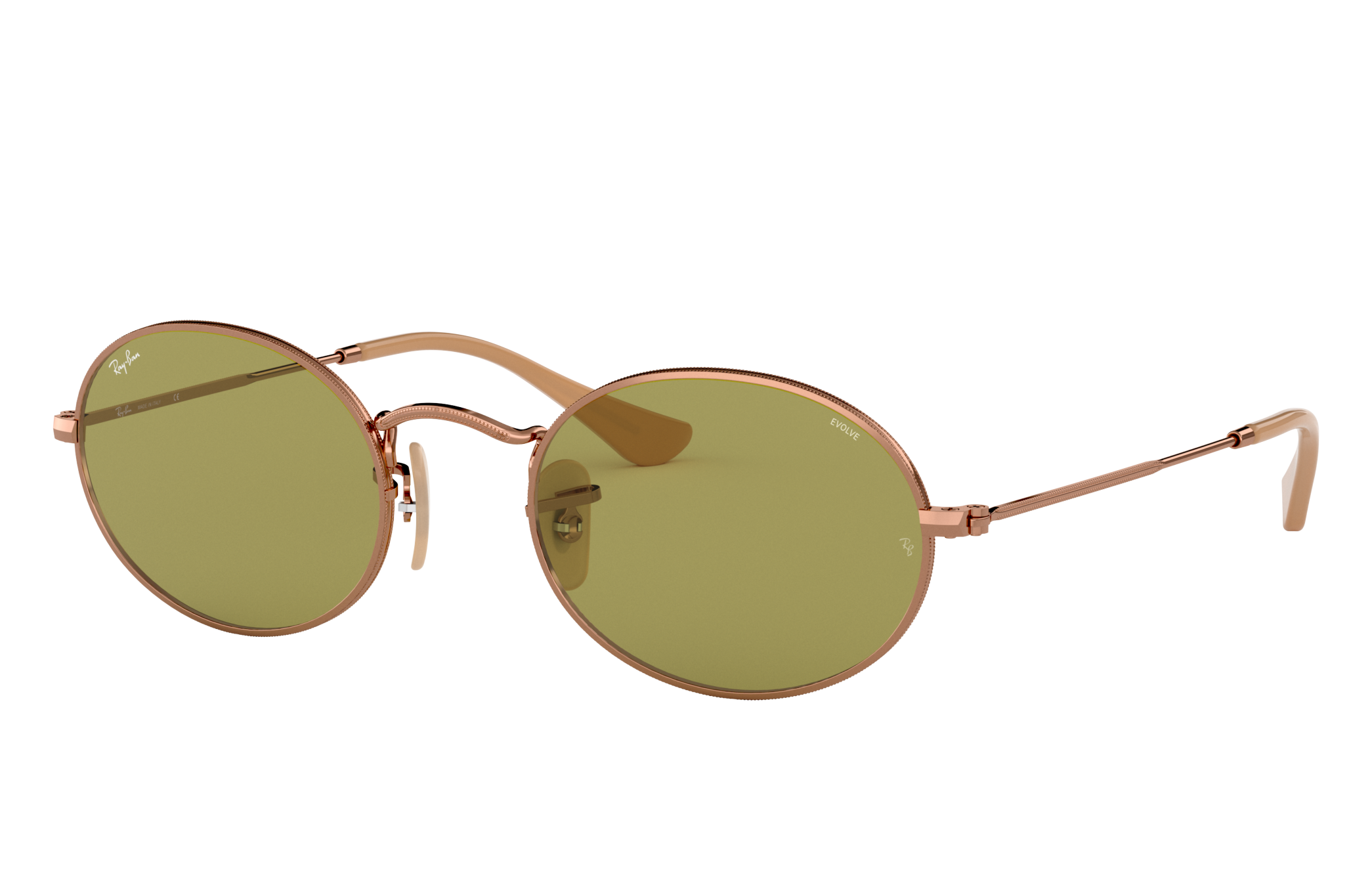Ray-Ban Oval Washed Evolve Bronze-Copper, Green Lenses - RB3547N