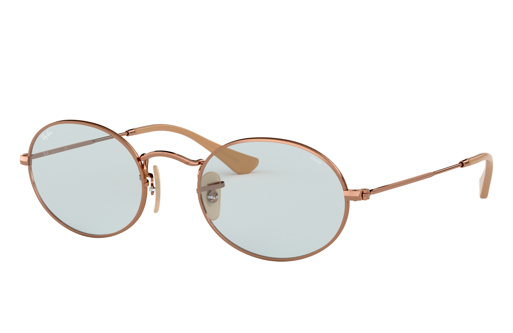 Ray-Ban Oval Washed Evolve Bronze-Copper, Blue Lenses - RB3547N