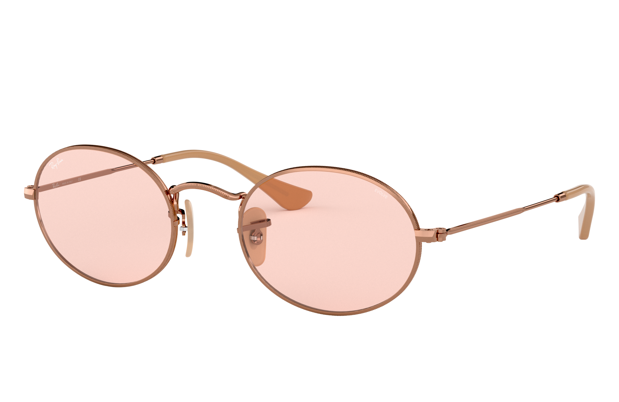 Ray-Ban Oval Washed Evolve Bronze-Copper, Pink Lenses - RB3547N