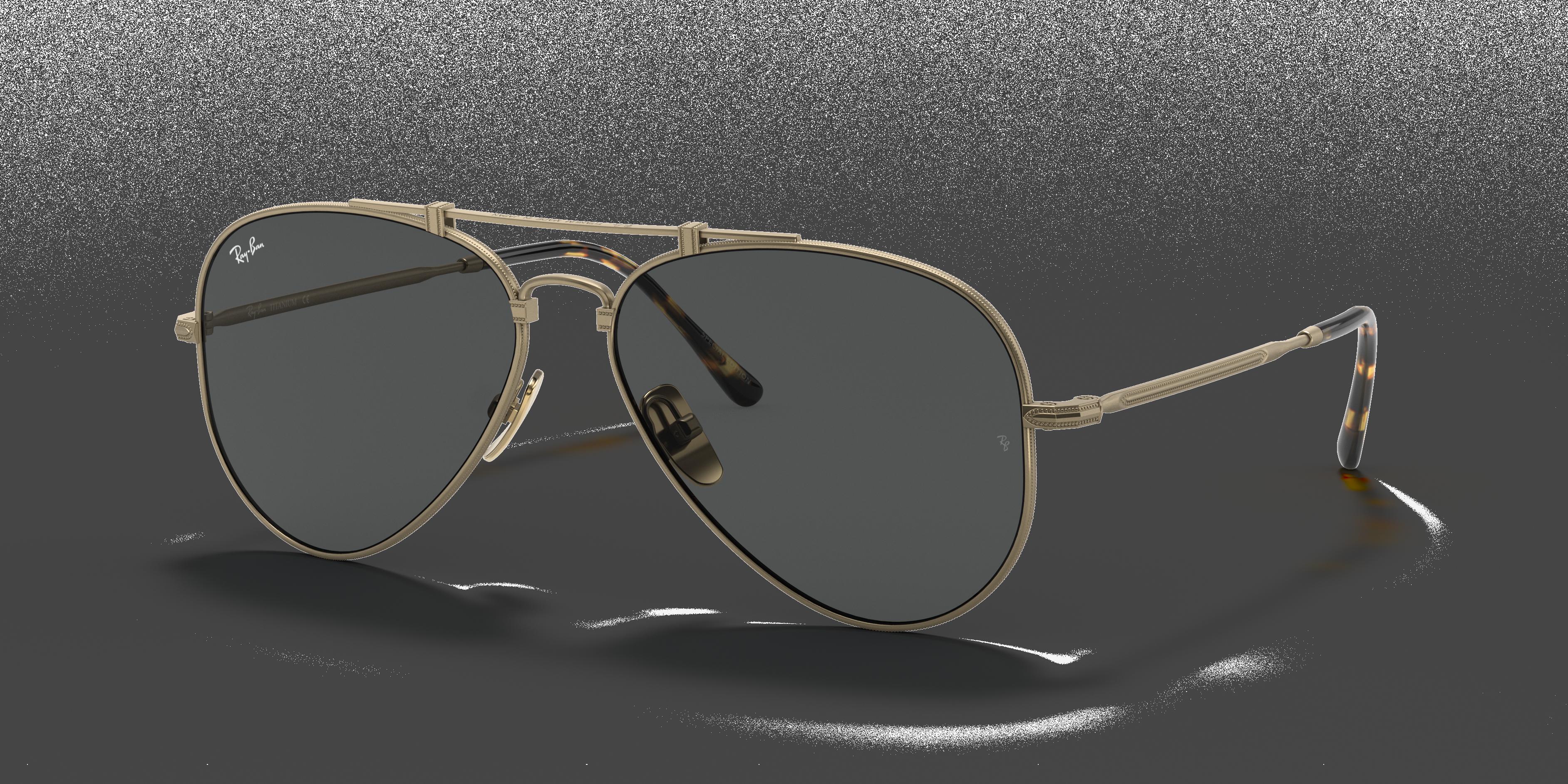 Ray-Ban Aviator Titanium Antique Gold, Gray Lenses - RB8125