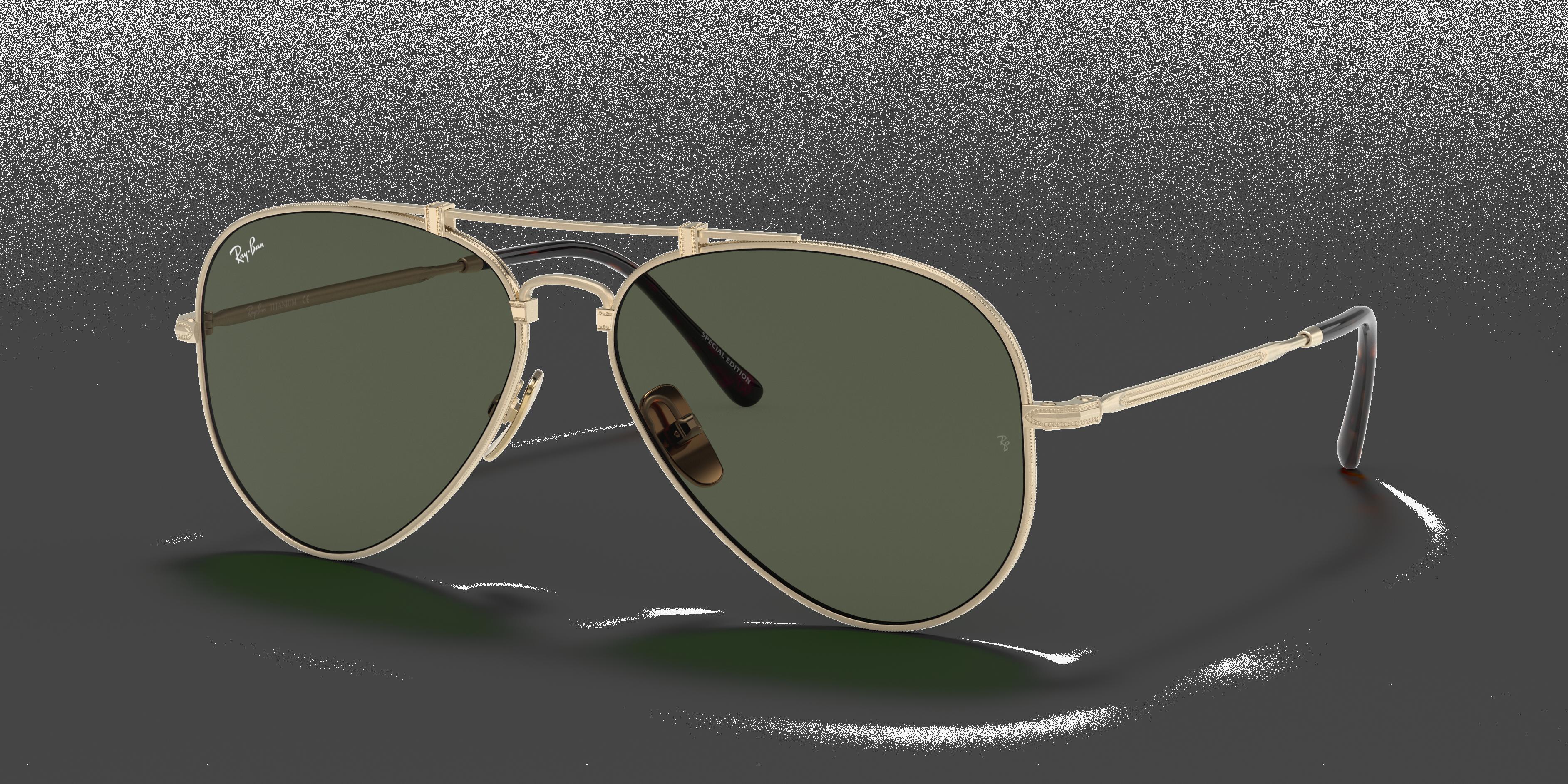 Ray-Ban Aviator Titanium Gold, Green Lenses - RB8125